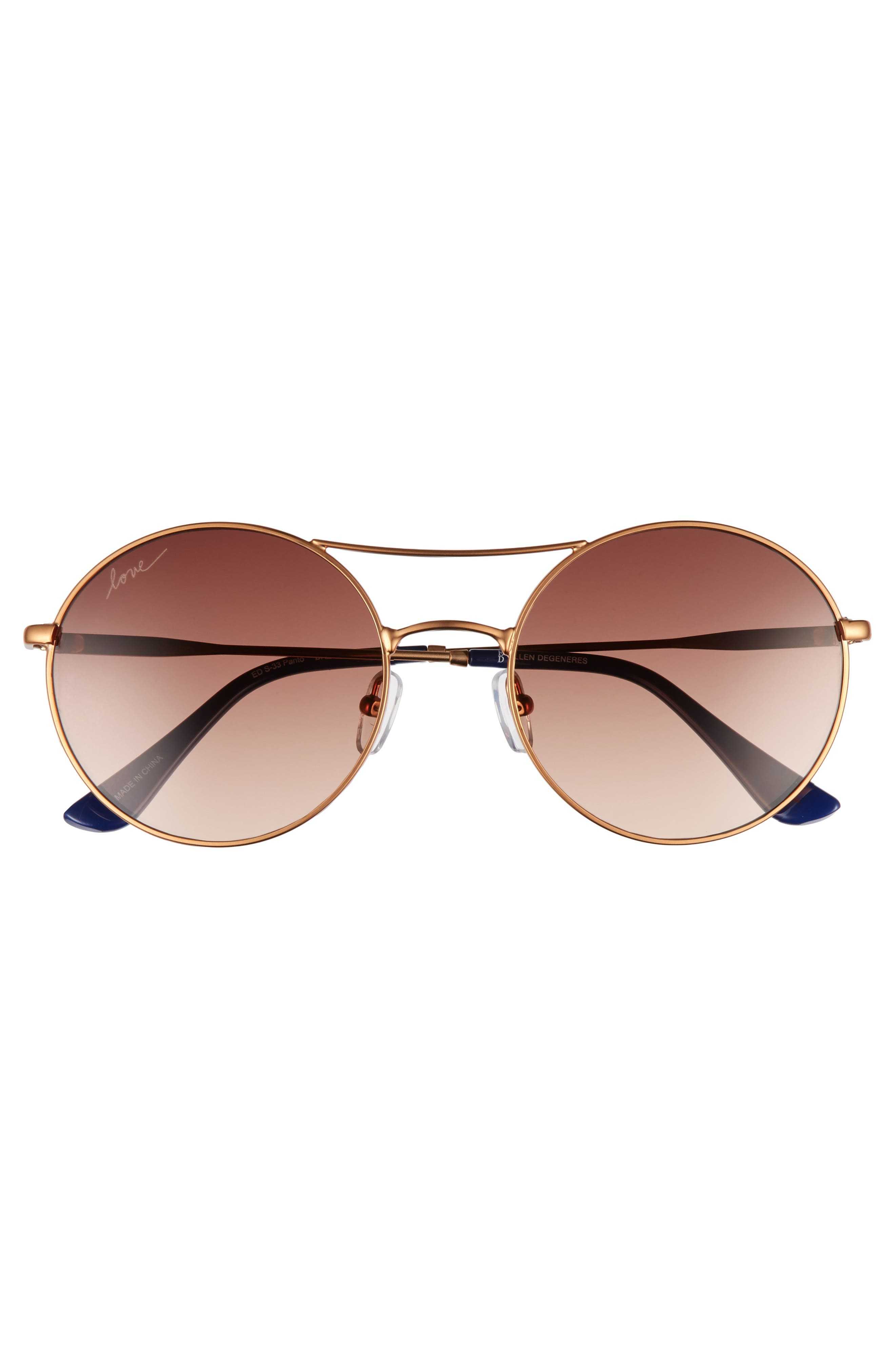 55mm Round Sunglasses,                             Alternate thumbnail 2, color,                             Bronze