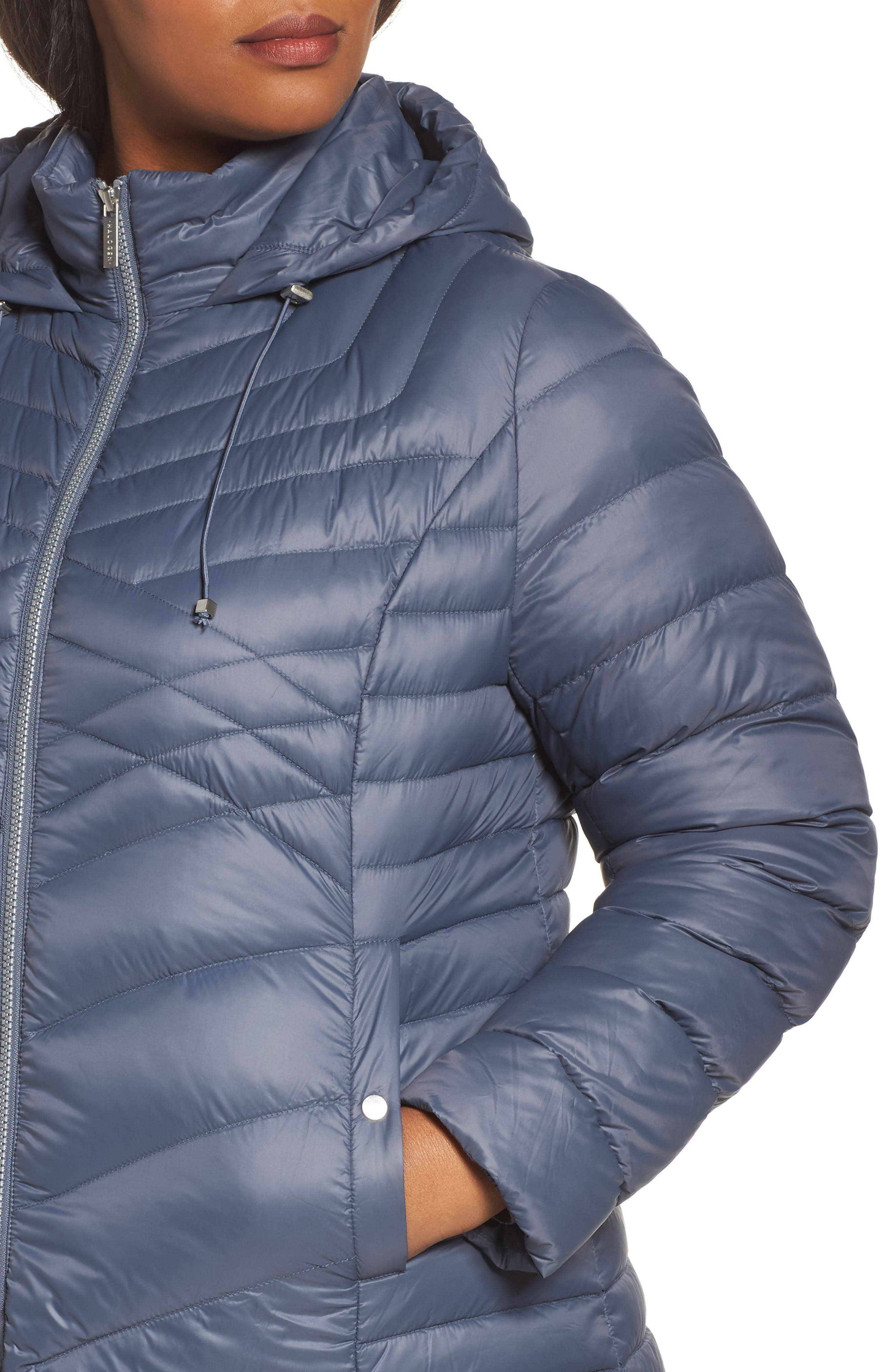 Alternate Image 4  - Halogen® Hooded Down Blend Puffer Jacket (Plus Size)