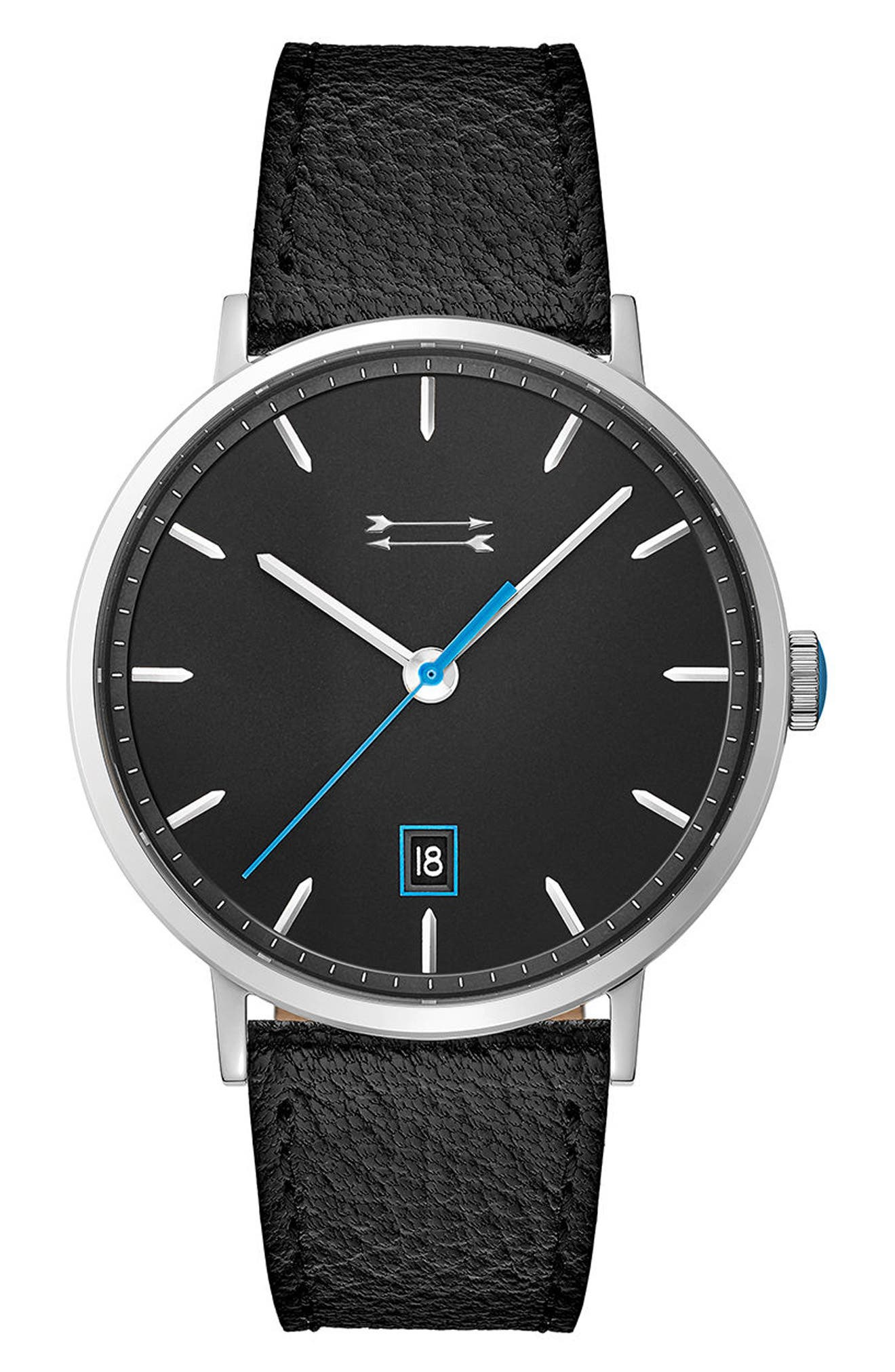 Norrebro Leather Strap Watch, 40mm,                         Main,                         color, Black/ Silver