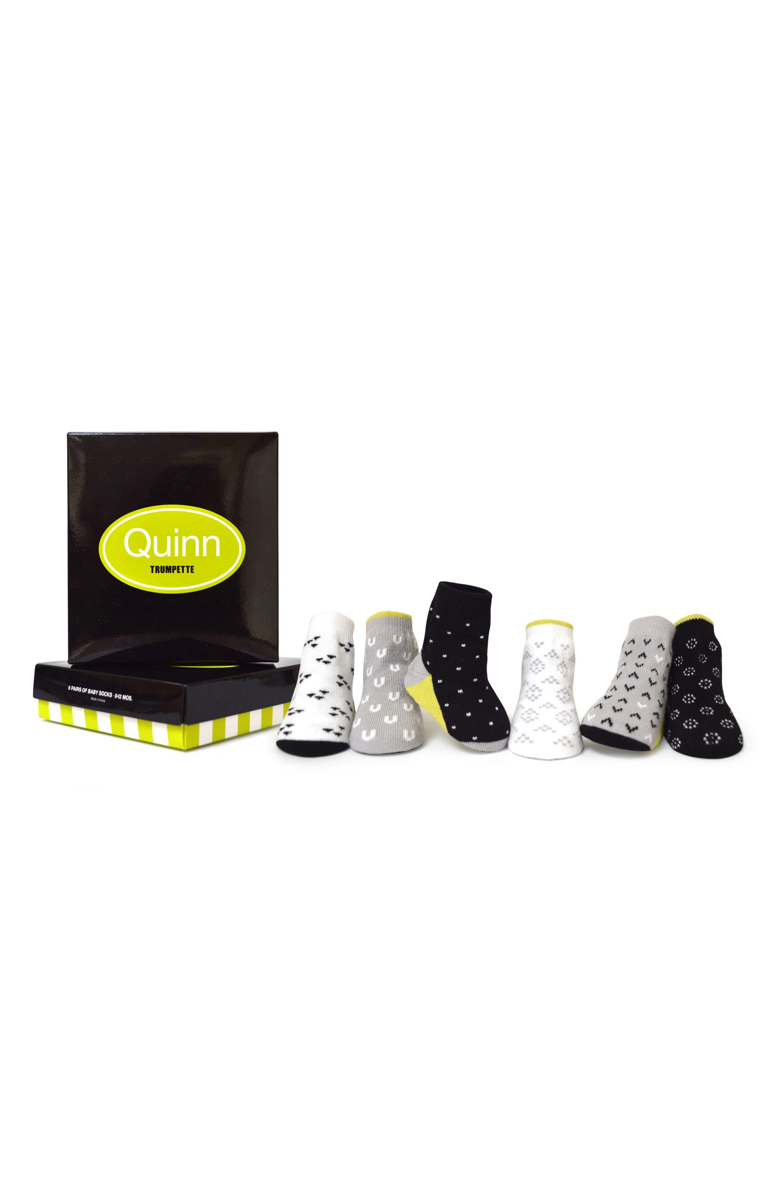 Quinn 6-Pack Socks,                         Main,                         color, Assorted Natural