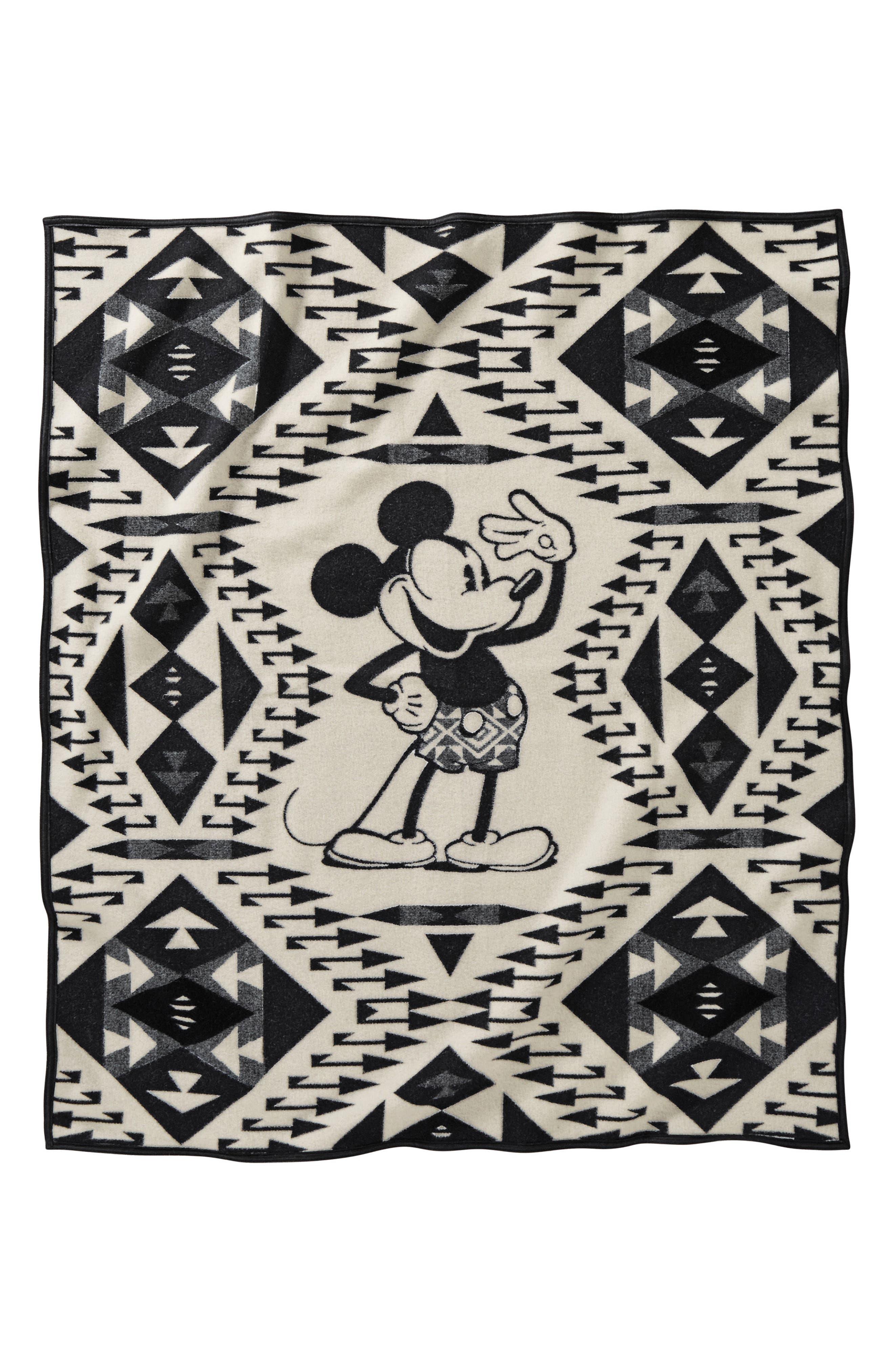 Mickey's Salute Blanket Throw,                             Main thumbnail 1, color,                             Black/ White