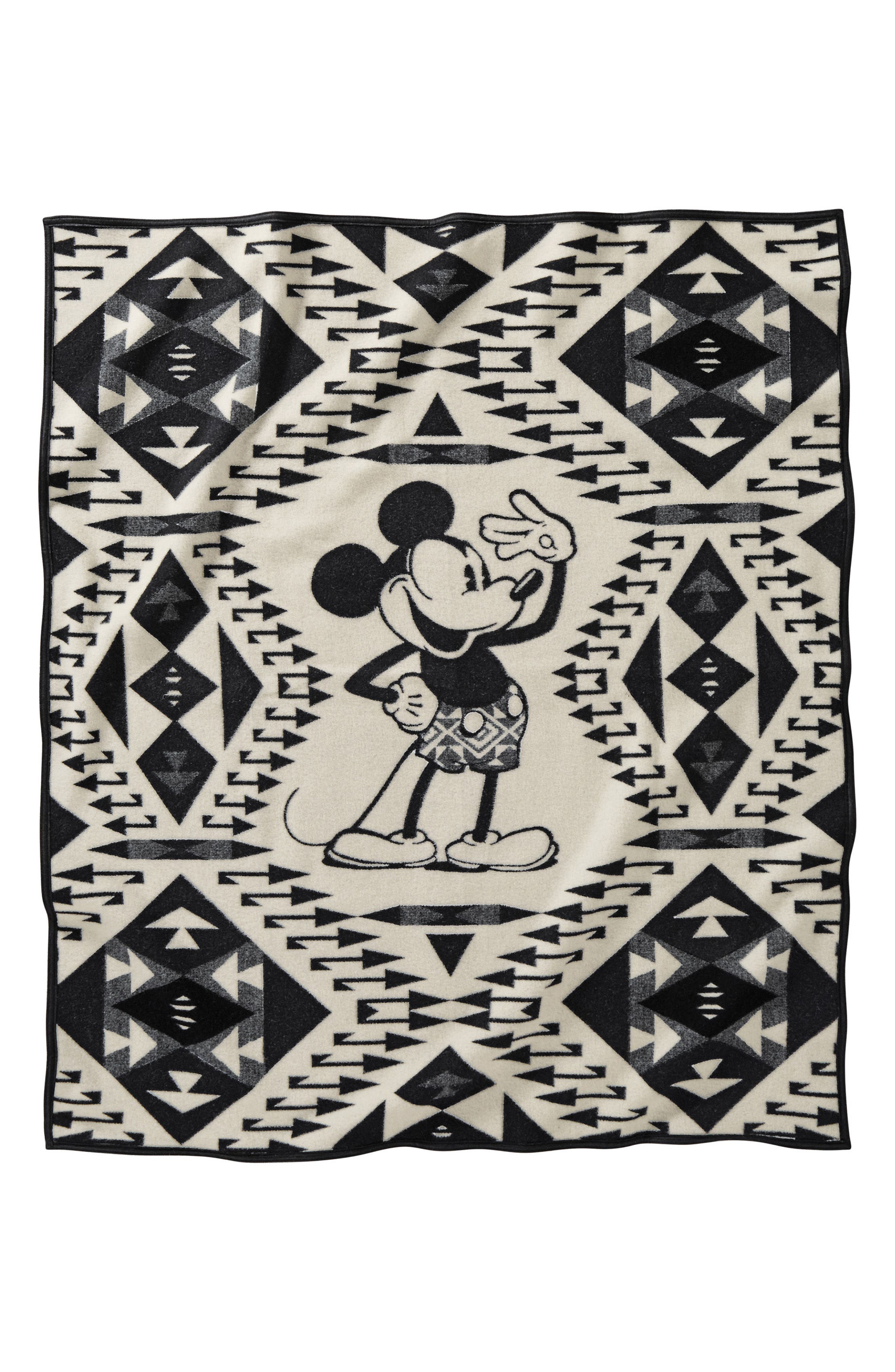 Mickey's Salute Blanket Throw,                         Main,                         color, Black/ White