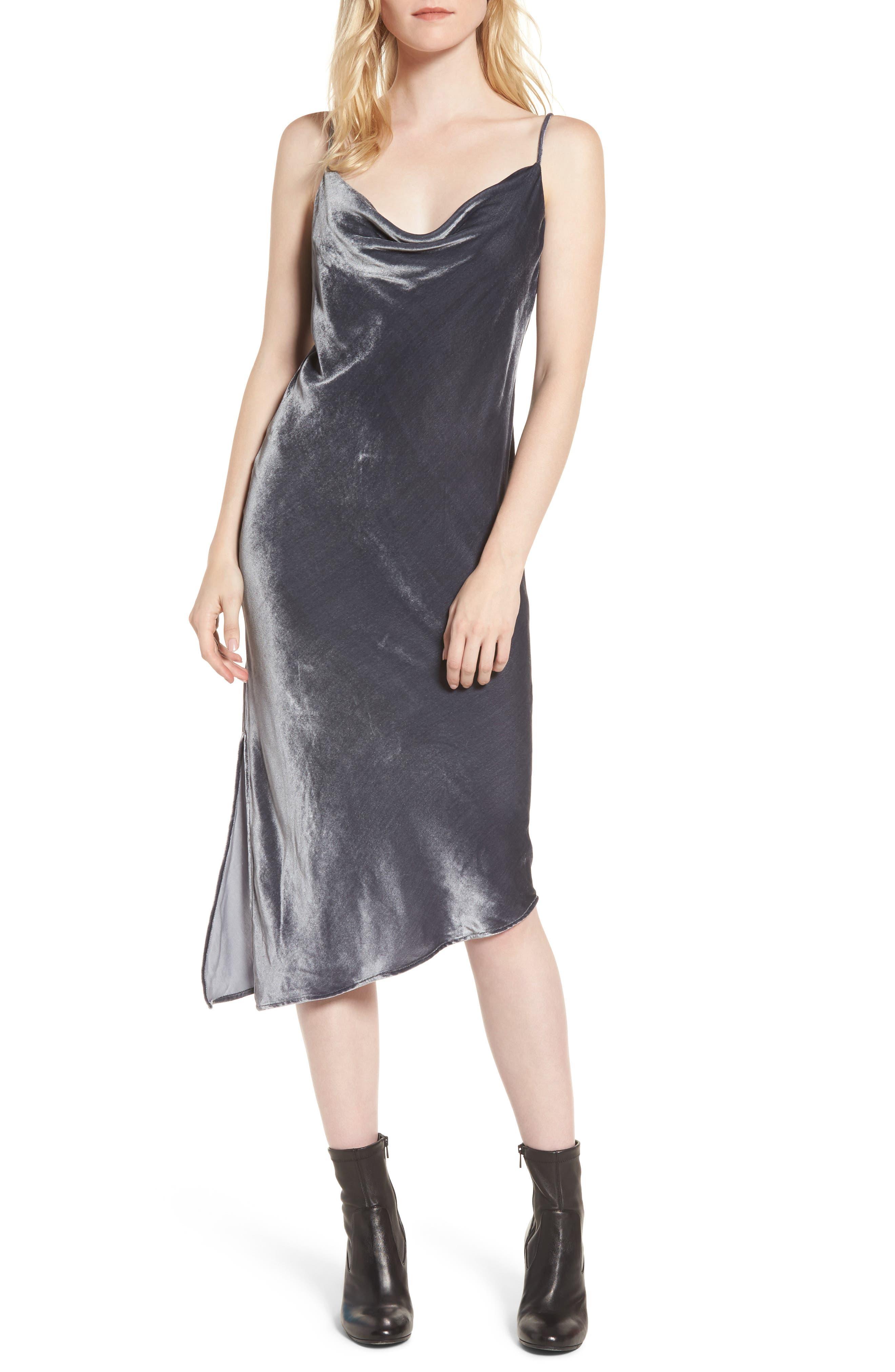 Gia Velvet Slipdress,                         Main,                         color, Gray Silver