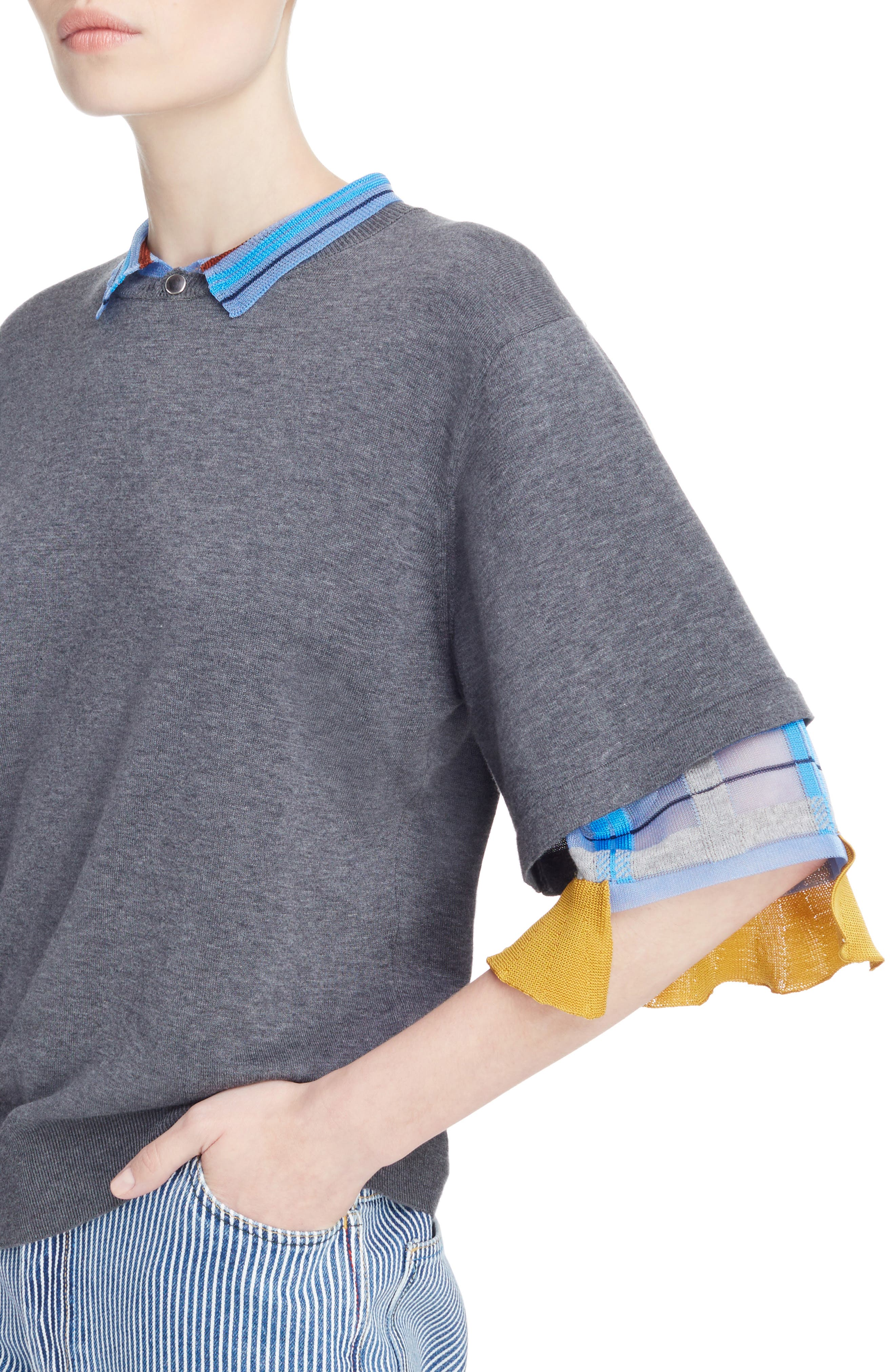 Check Tier Sleeve Sweater,                             Alternate thumbnail 4, color,                             Gray