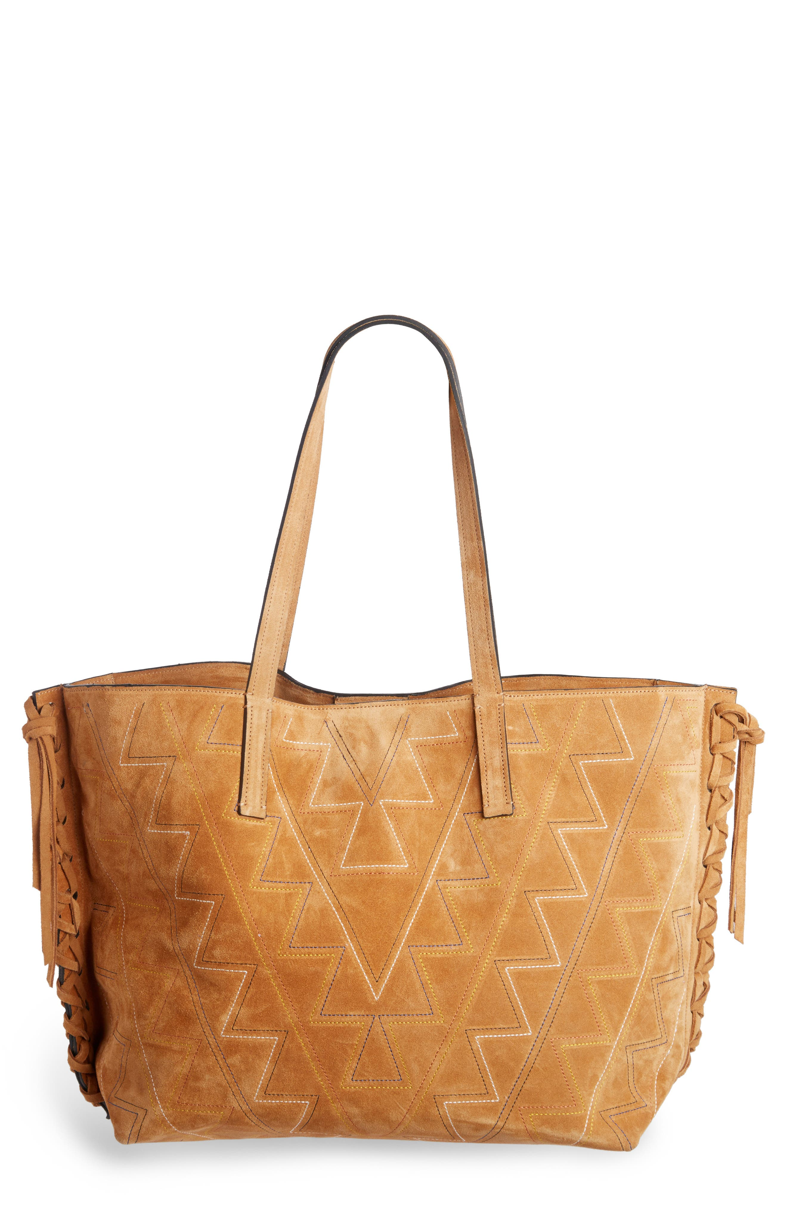 Isabel Marant Zoe Topstitched Suede Tote