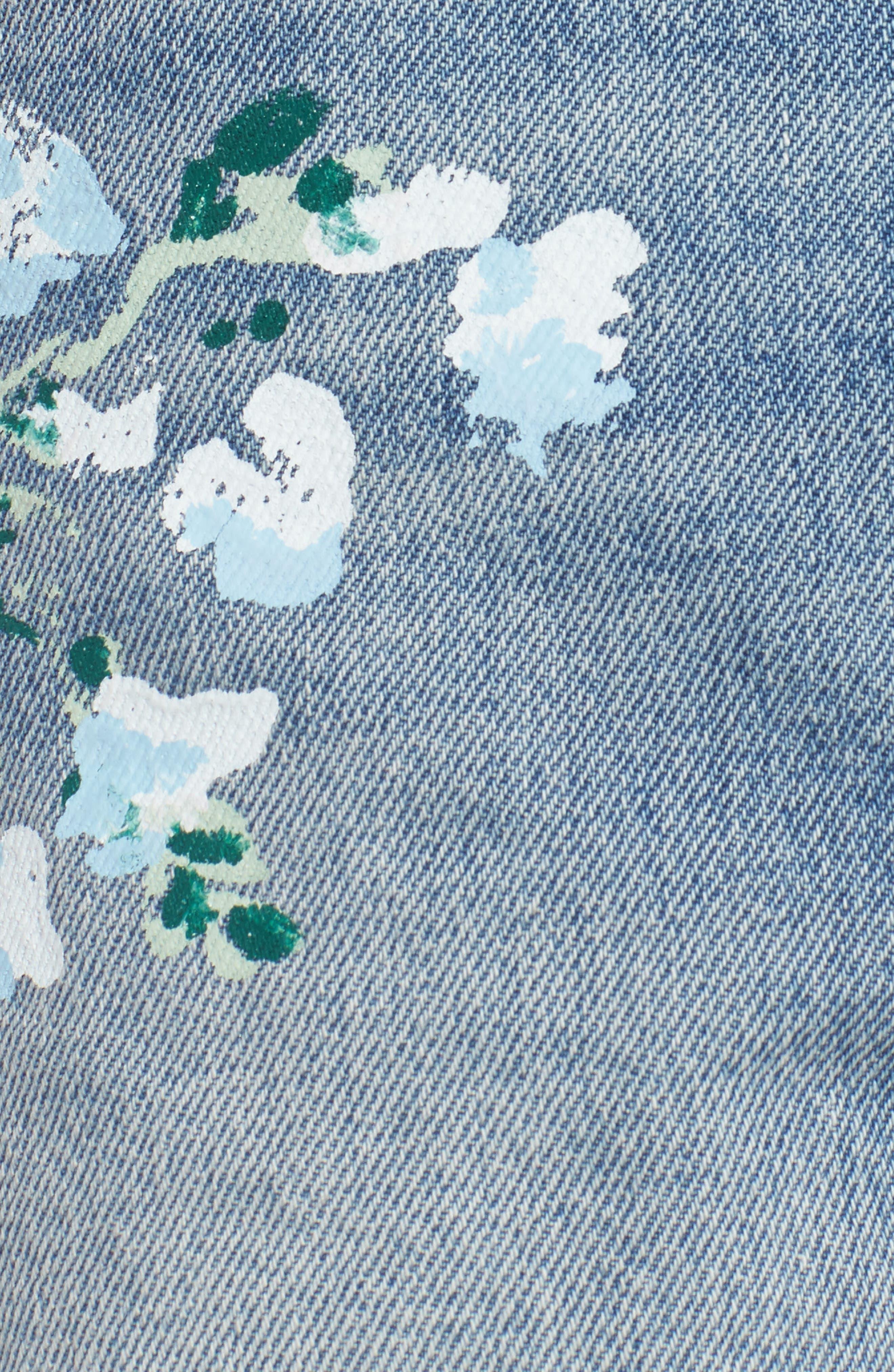 Handpainted Cutoff Denim Shorts,                             Alternate thumbnail 5, color,                             Vintage Wythe Painted Floral