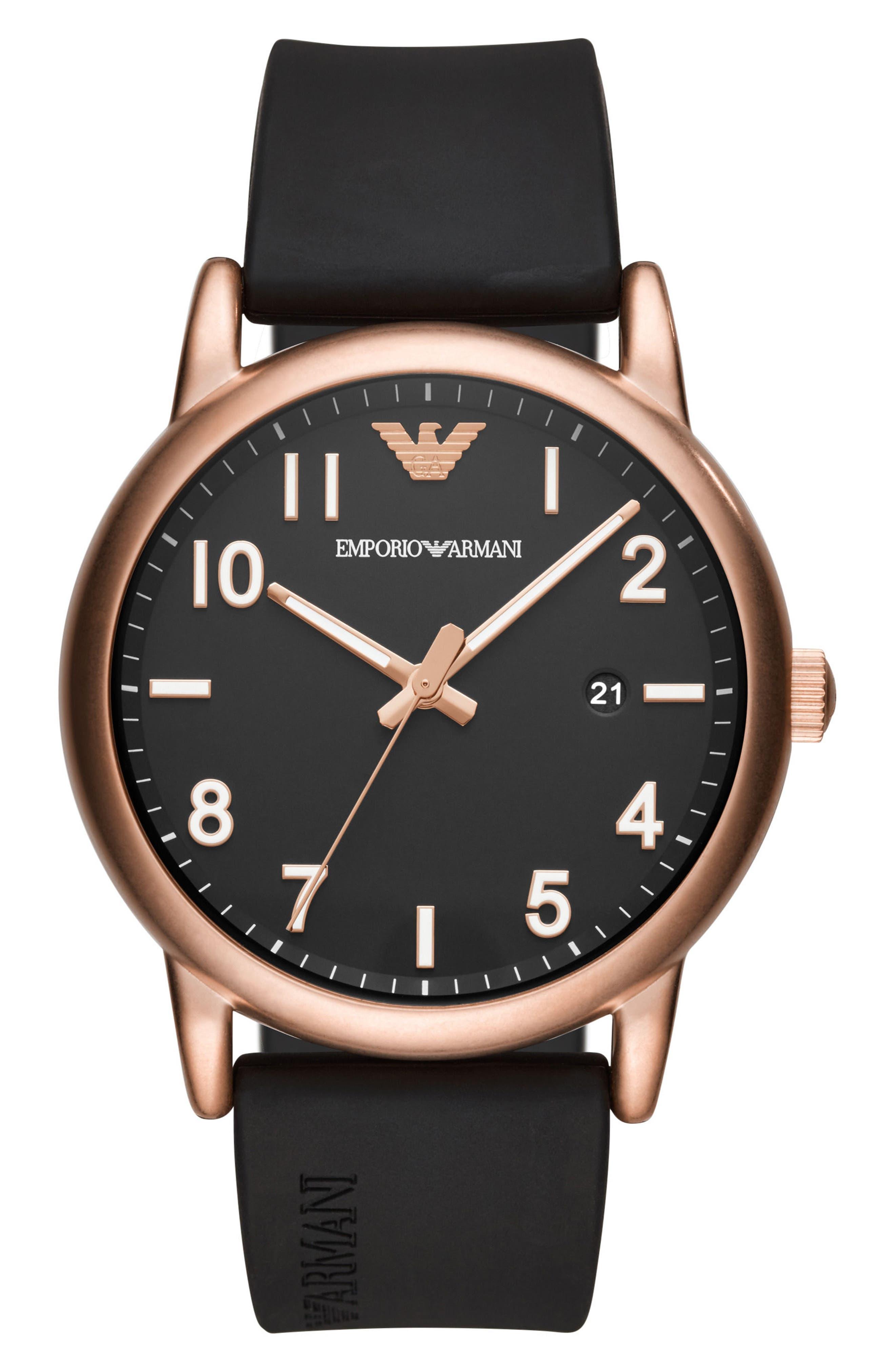 Main Image - Emporio Armani Round Silicone Strap Watch, 43mm