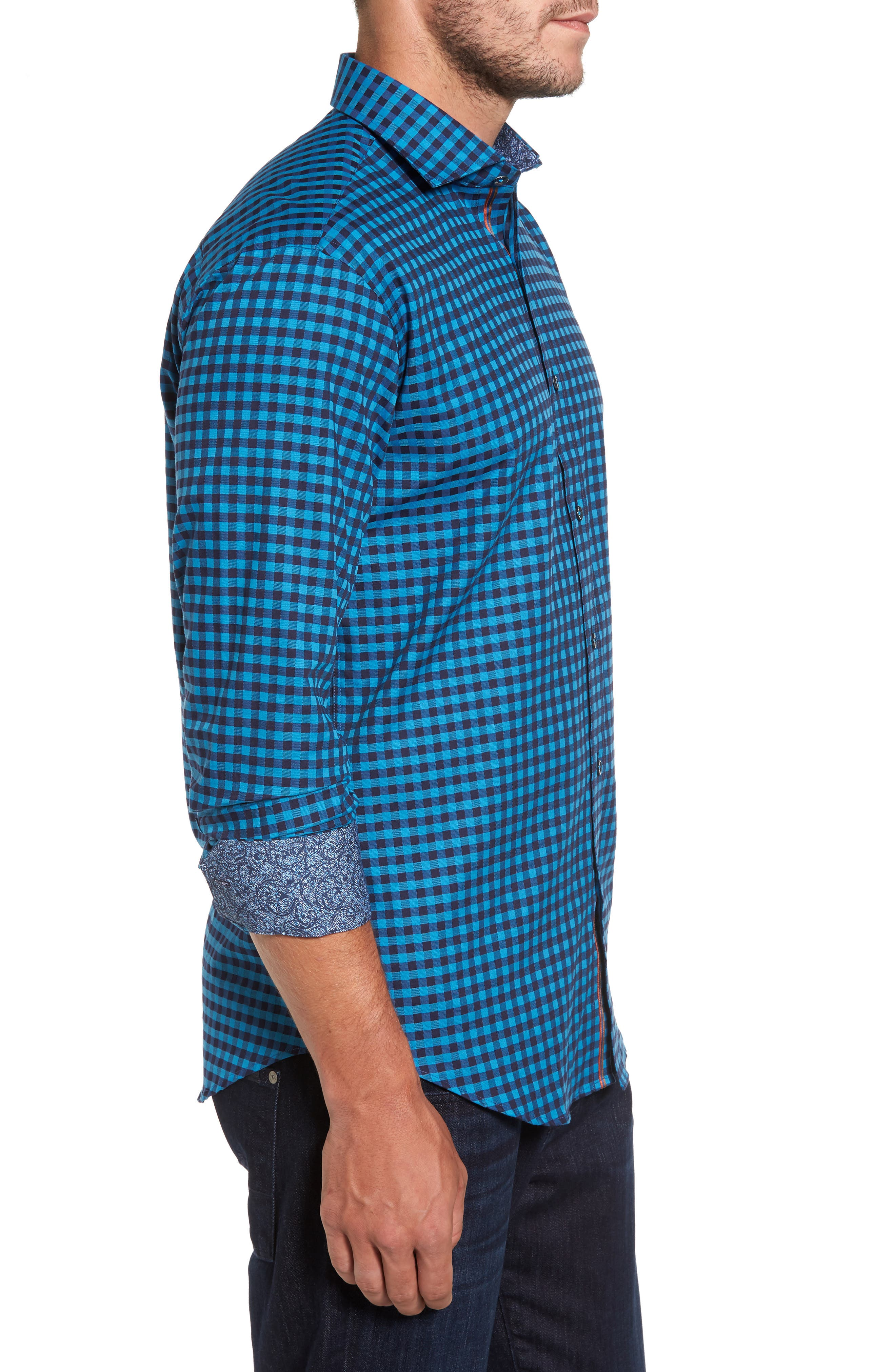 Shaped Fit Check Sport Shirt,                             Alternate thumbnail 3, color,                             Teal