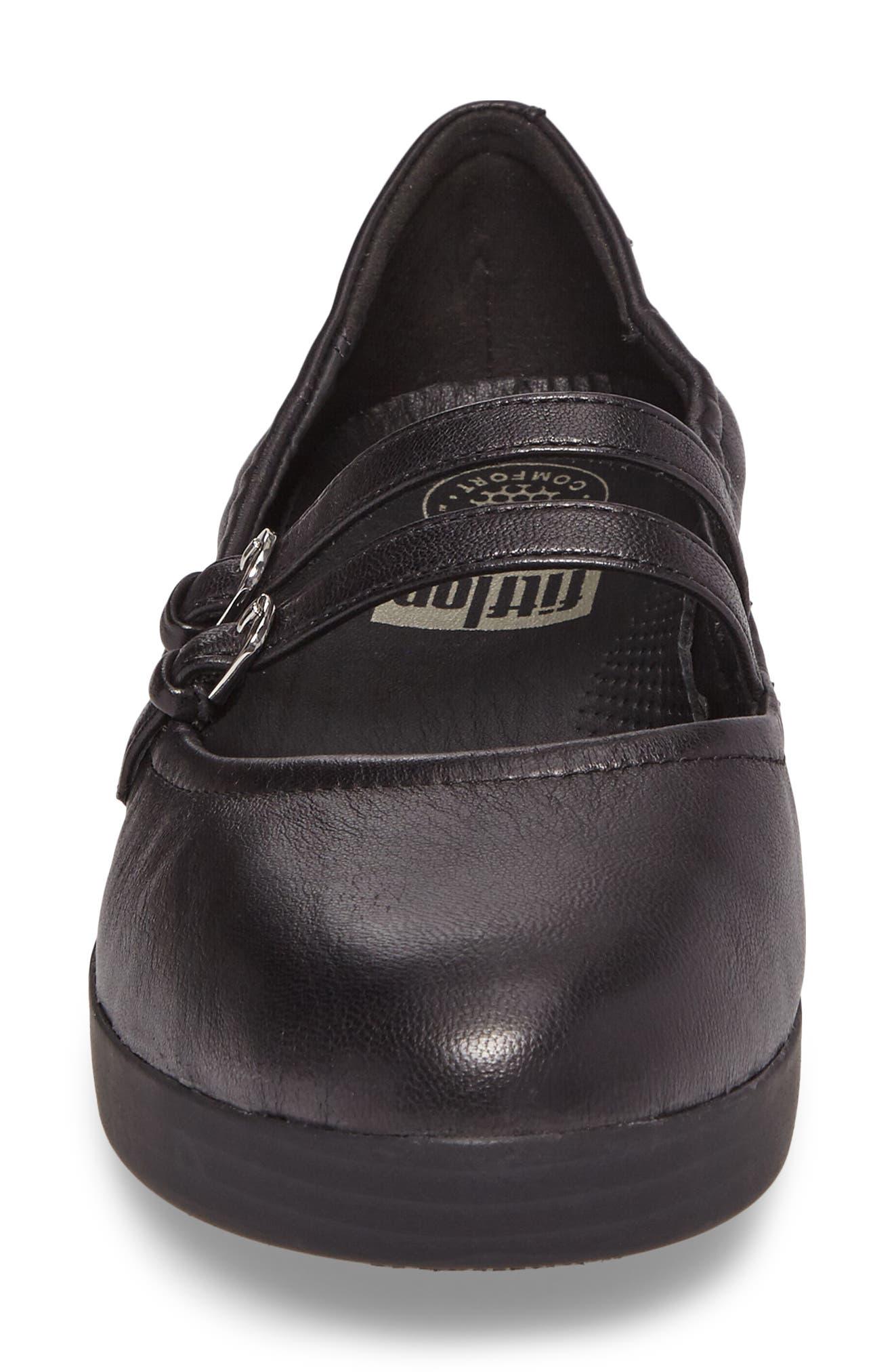 SuperBendy<sup>™</sup> Mary Jane Flat,                             Alternate thumbnail 4, color,                             Black Leather