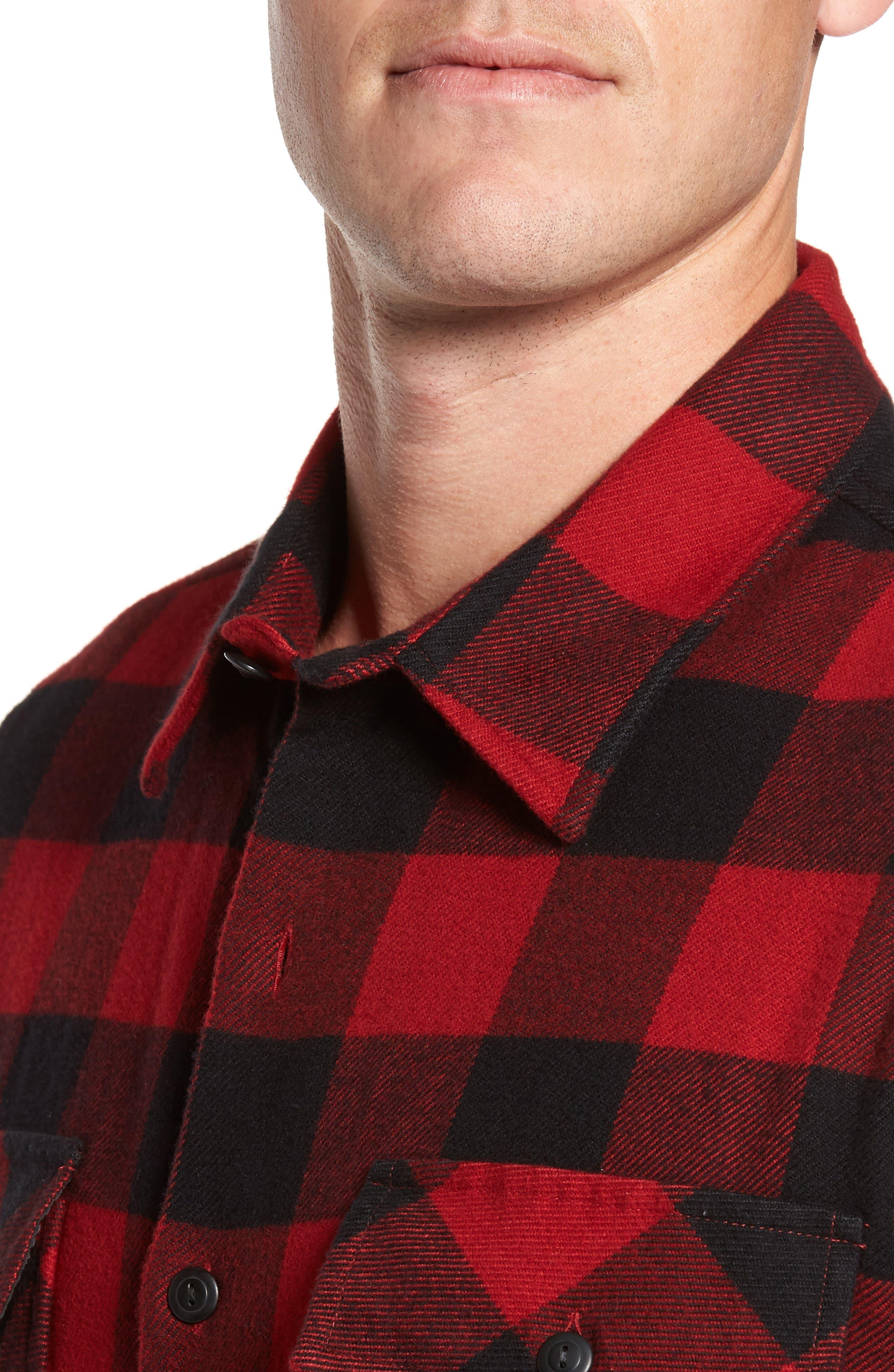 Buffalo Check Shirt Jacket,                             Alternate thumbnail 4, color,                             Buffalo Plaid