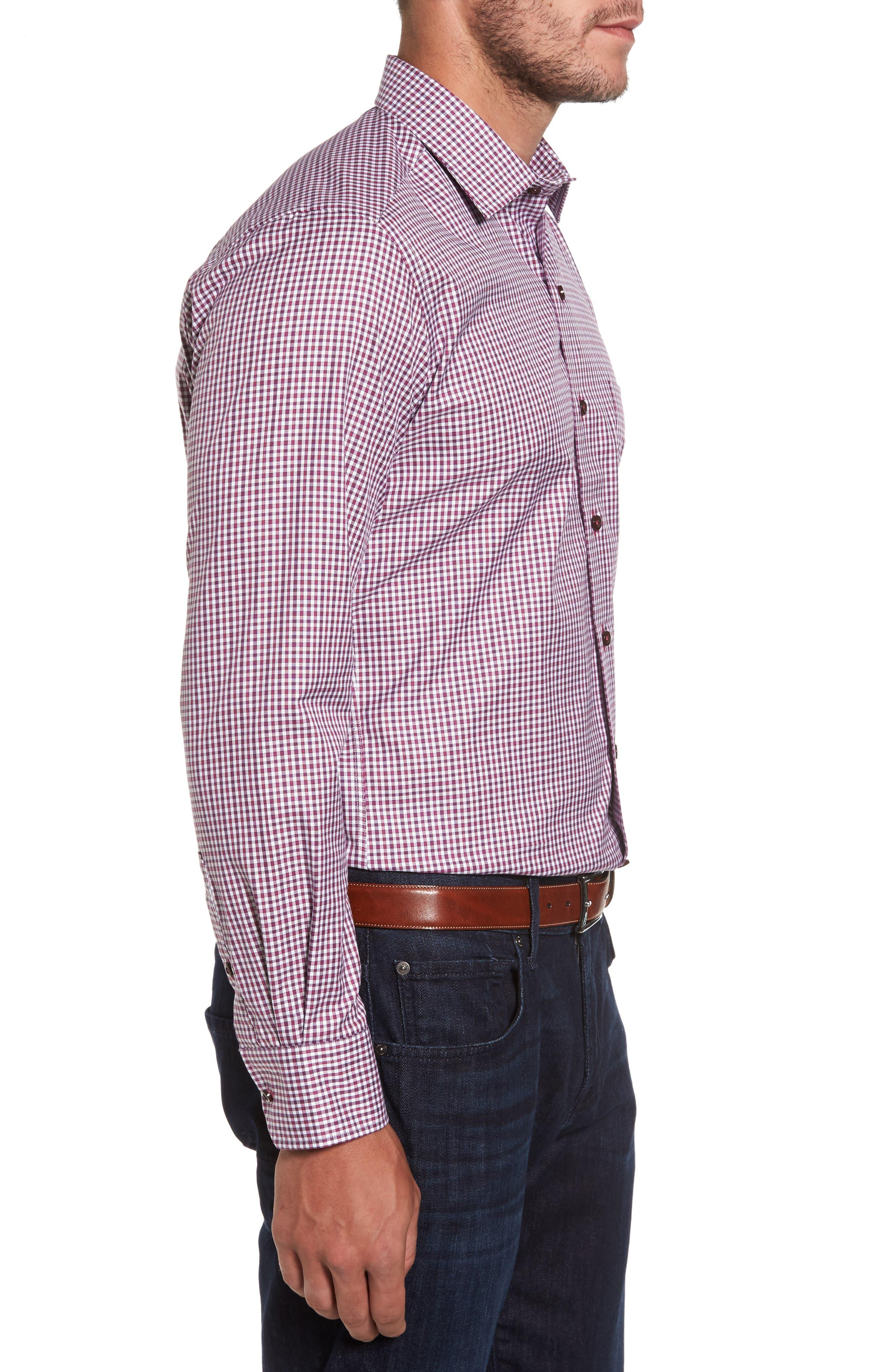 Plaid Regular Fit Sport Shirt,                             Alternate thumbnail 3, color,                             Berry
