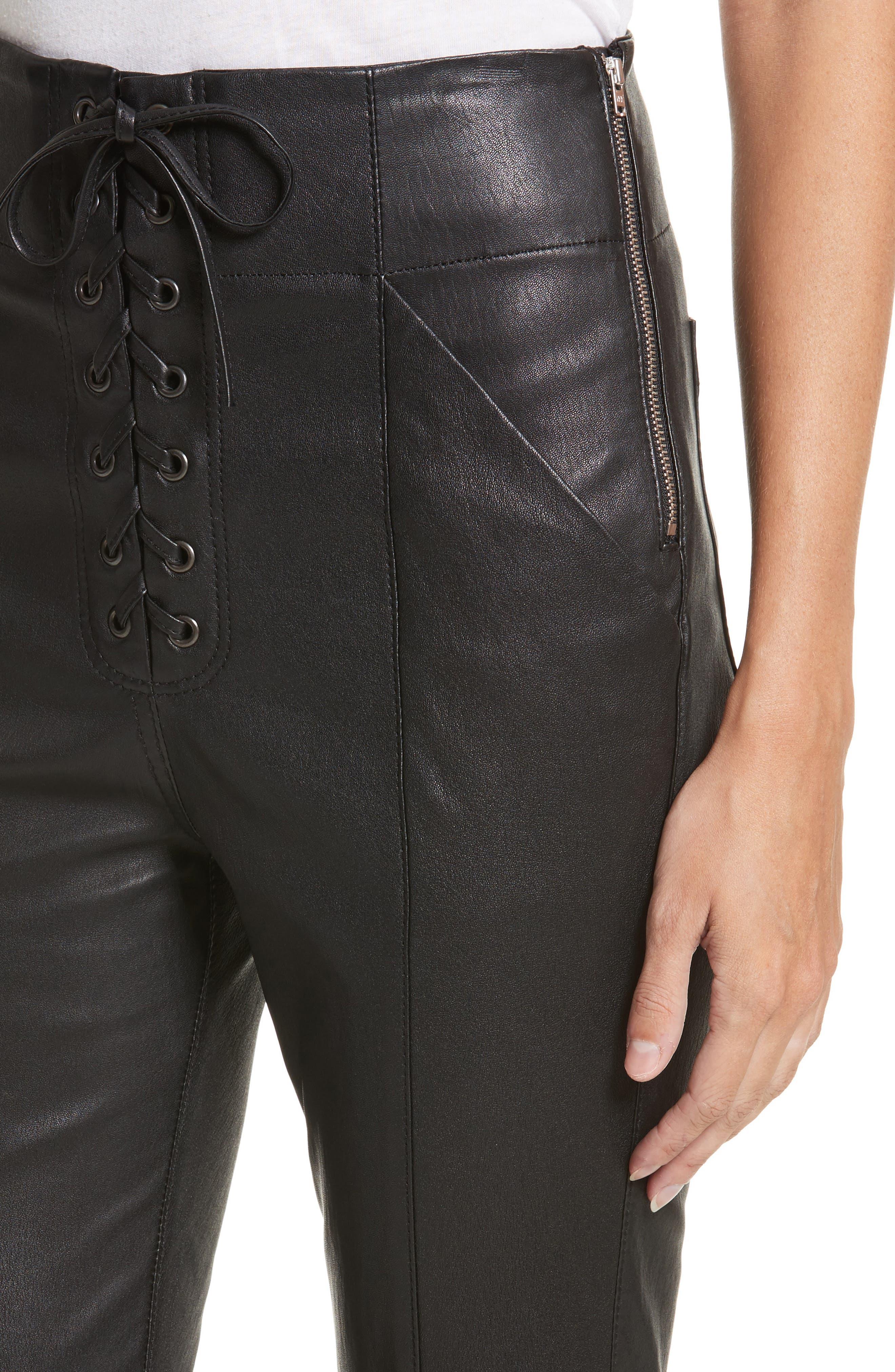 Delia Lace Up Leather Pants,                             Alternate thumbnail 4, color,                             Black