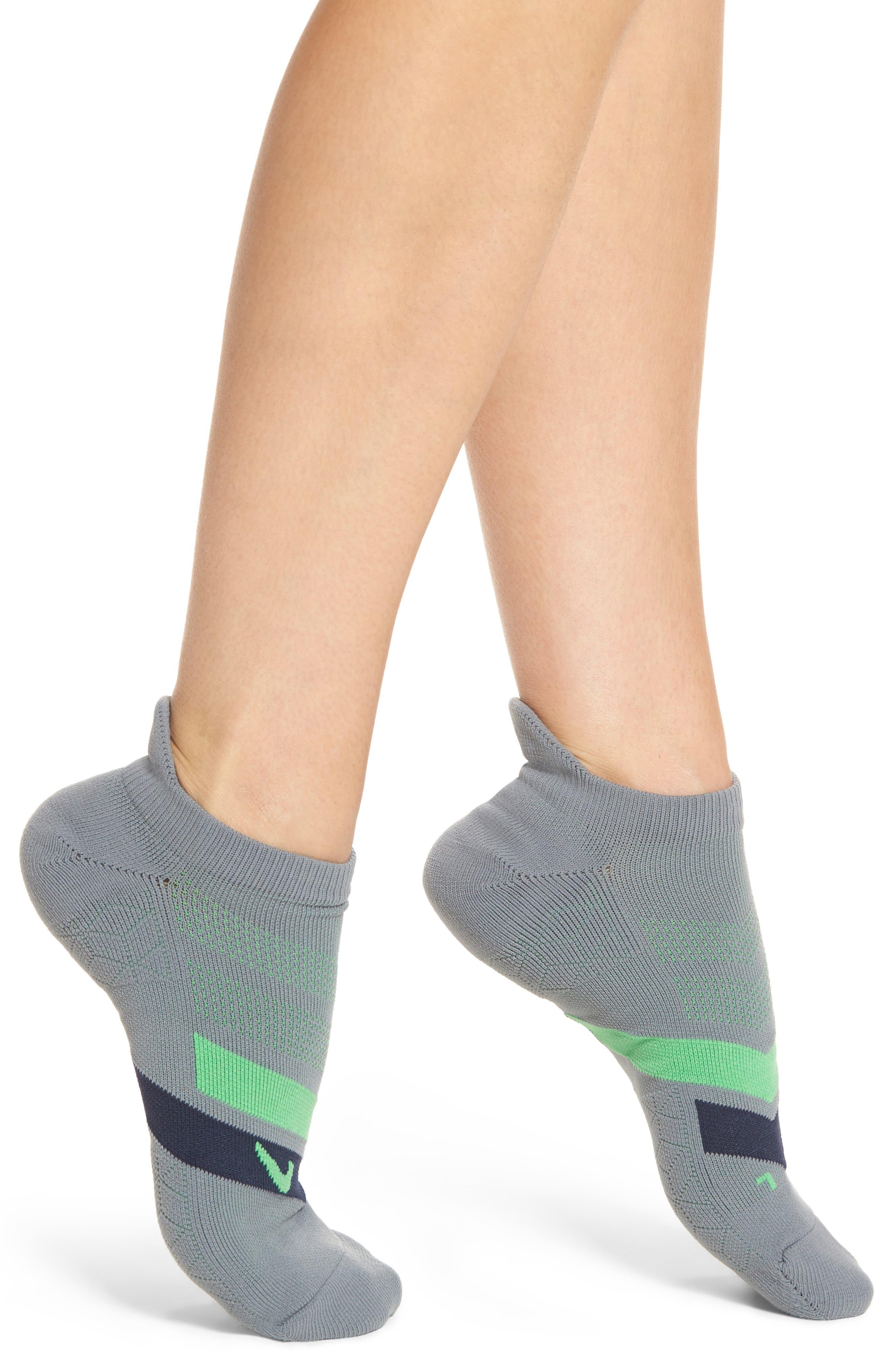 No-Show Running Socks,                         Main,                         color, Grey/ Obsidian/ Green Spark