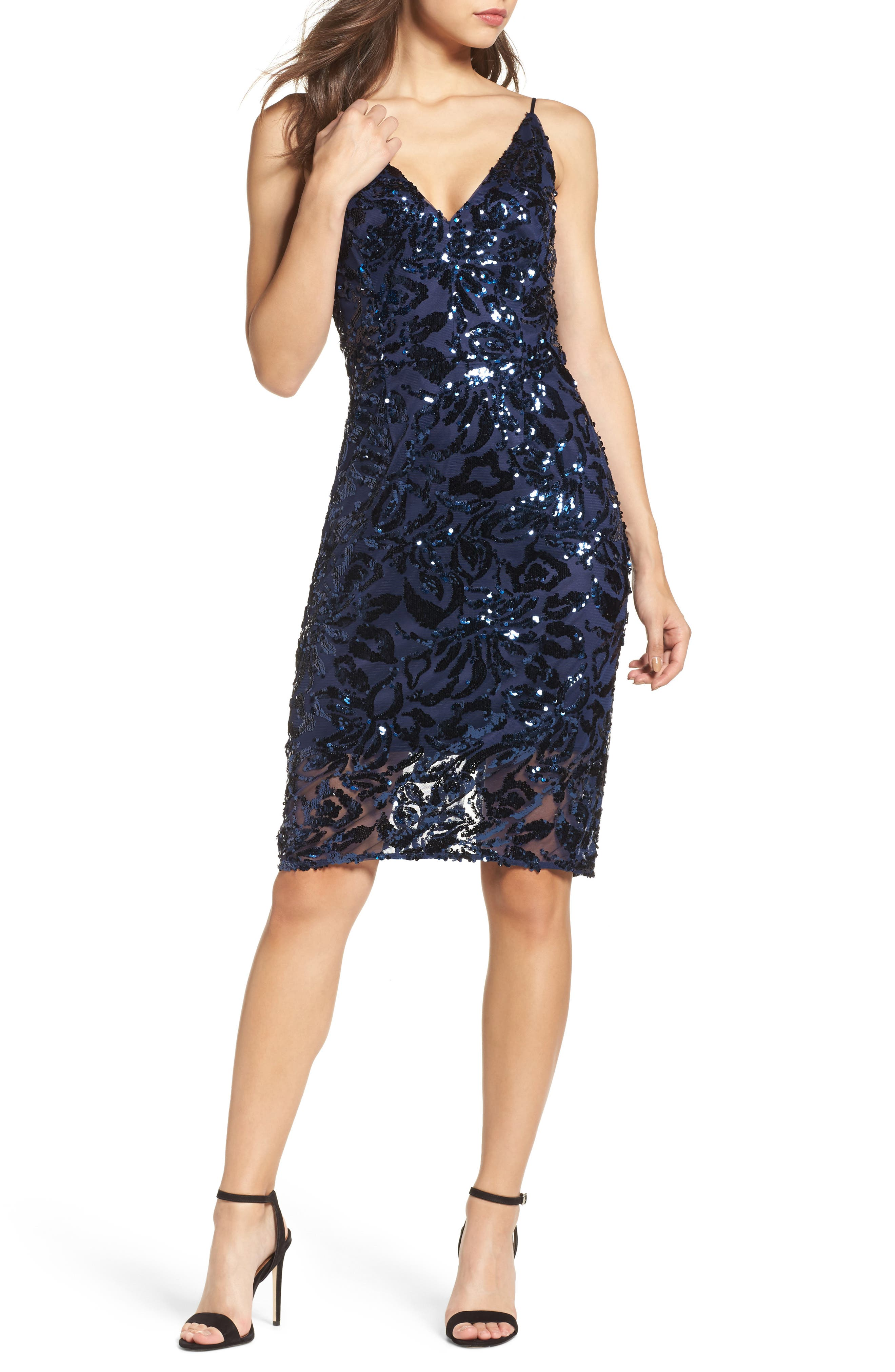Sequin Slipdress,                         Main,                         color, Navy