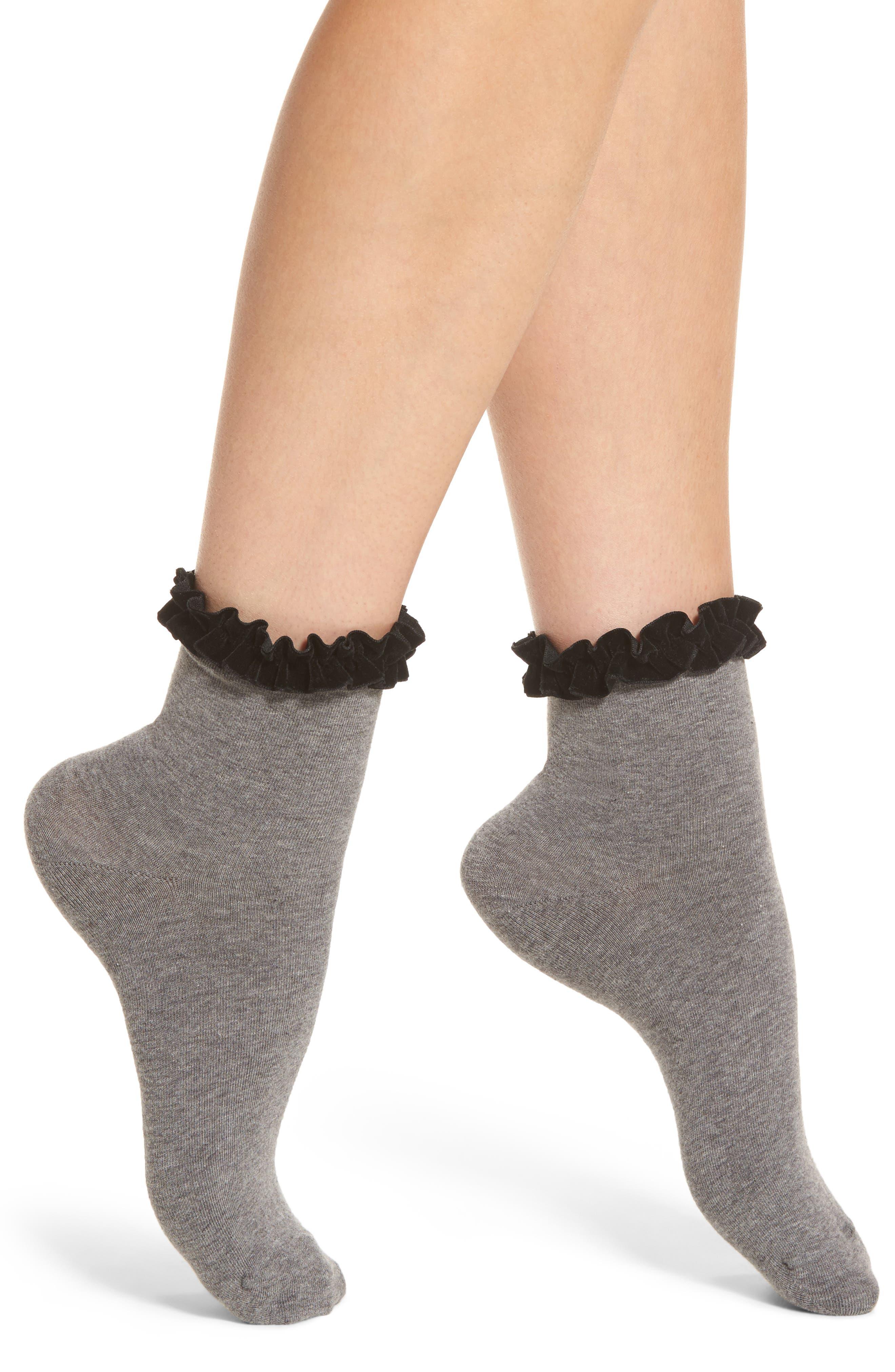 Chelsea28 Velvet Trim Crew Socks