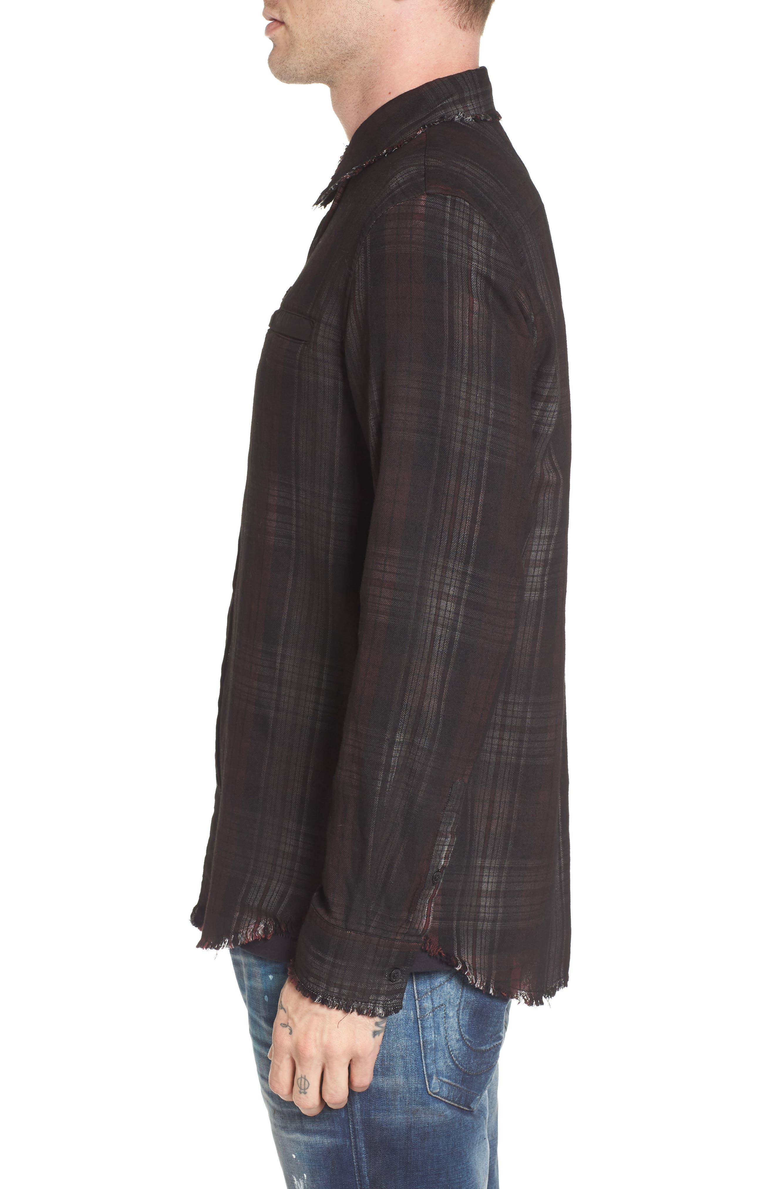 Coated Punk Woven Shirt,                             Alternate thumbnail 3, color,                             Oxblood Plaid
