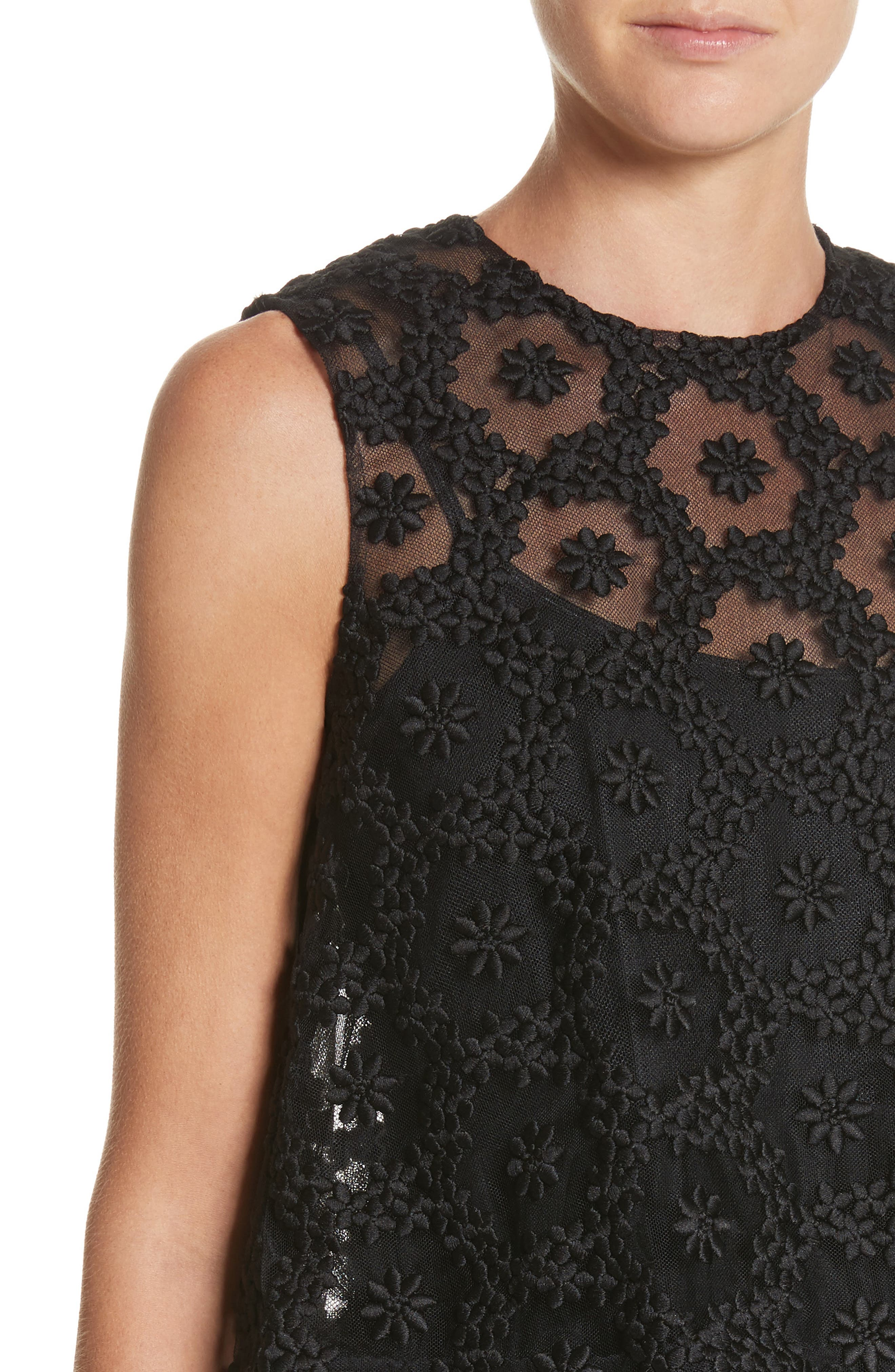 Floral Embroidered Tulle Top,                             Alternate thumbnail 4, color,                             Black
