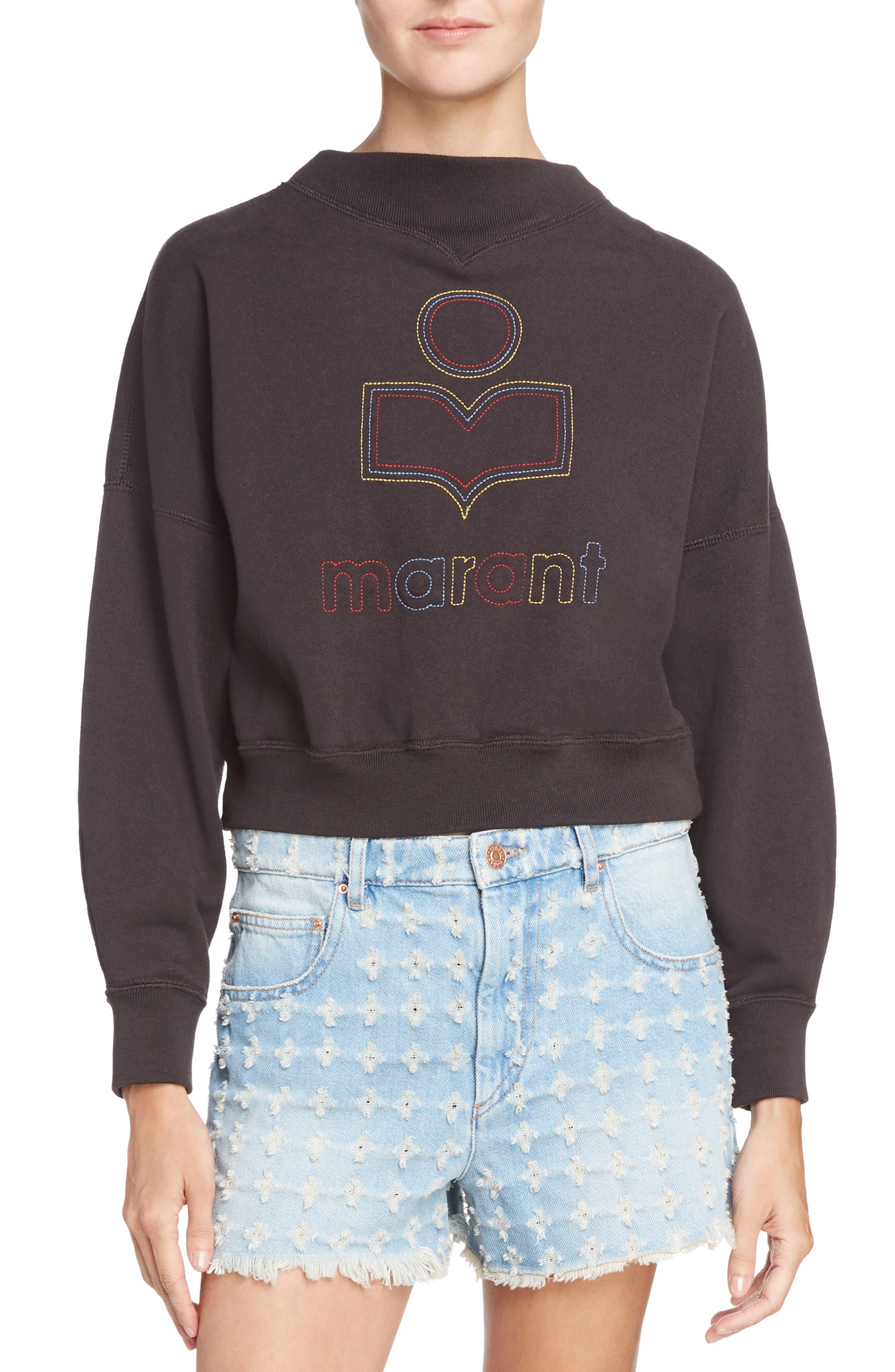 Isabel Marant Étoile Odilon Sweatshirt,                             Main thumbnail 1, color,                             Faded Black