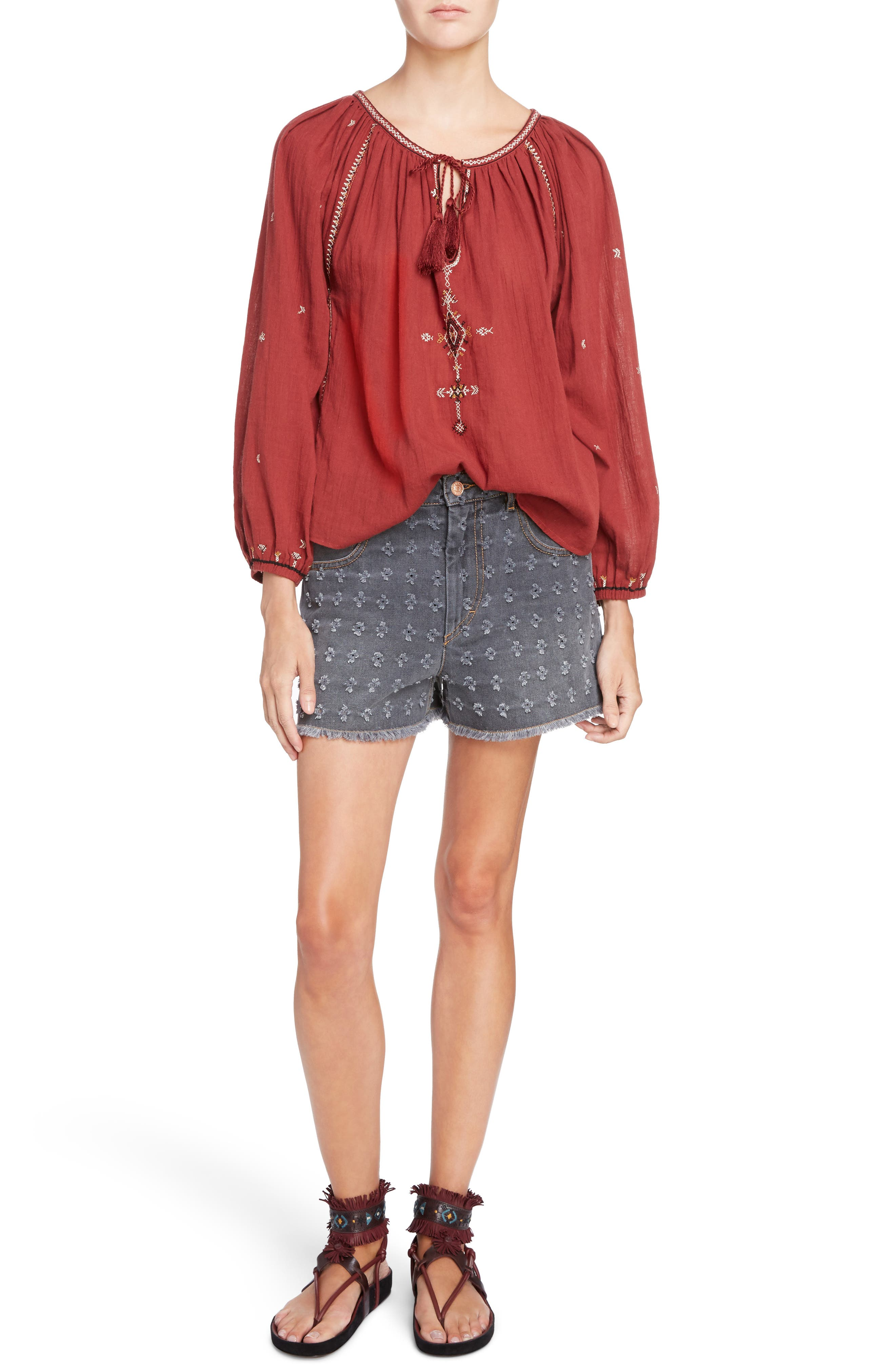 Isabel Marant Étoile Ripped Denim Shorts,                             Alternate thumbnail 2, color,                             Grey