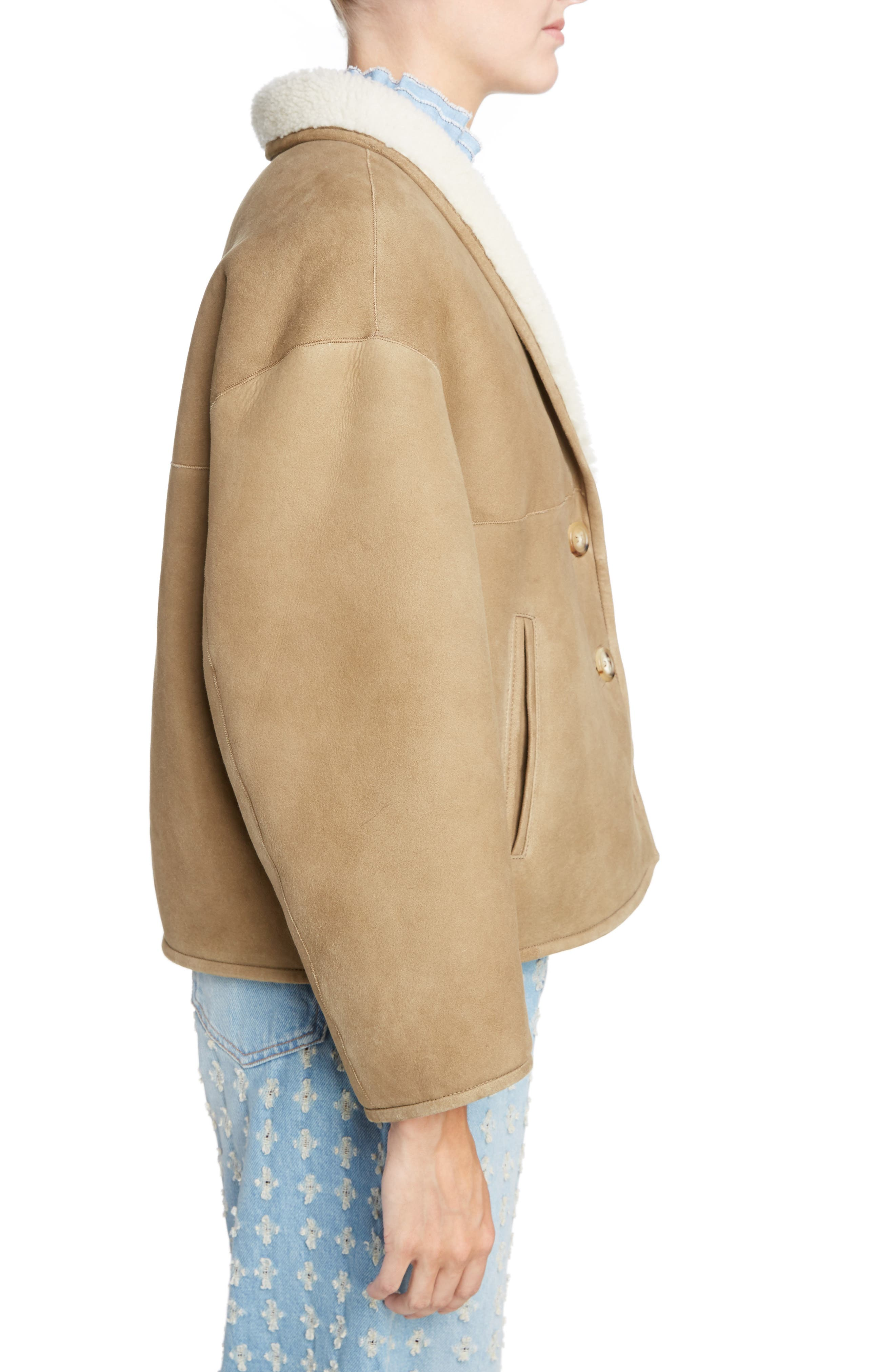 Isabel Marant Étoile Genuine Shearling Coat,                             Alternate thumbnail 3, color,                             Beige