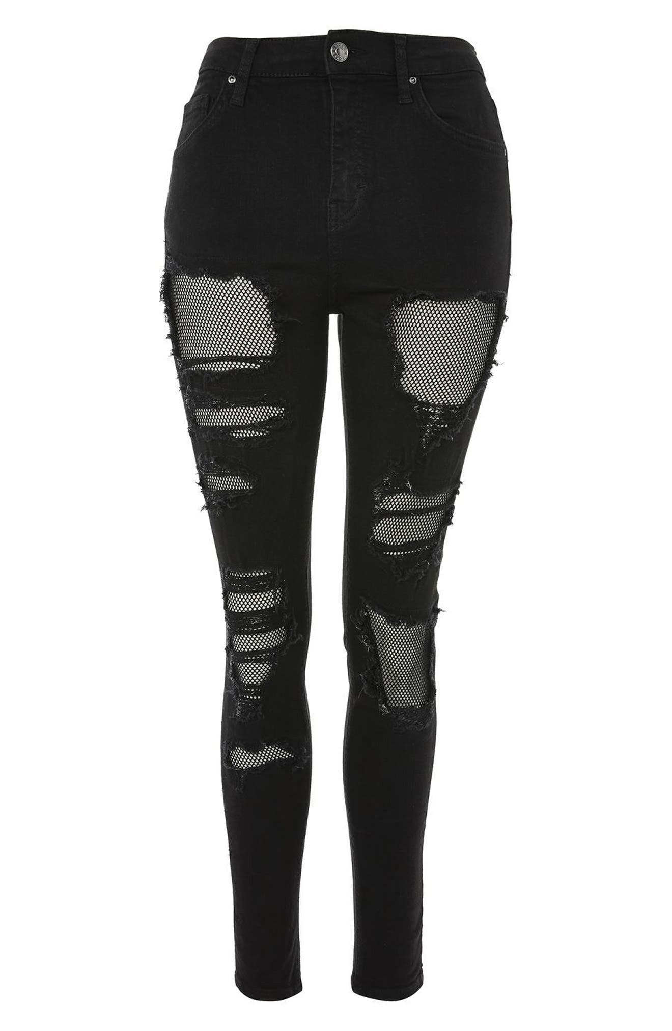 Jamie Black Fishnet Rip Skinny Jeans,                             Alternate thumbnail 3, color,                             Black