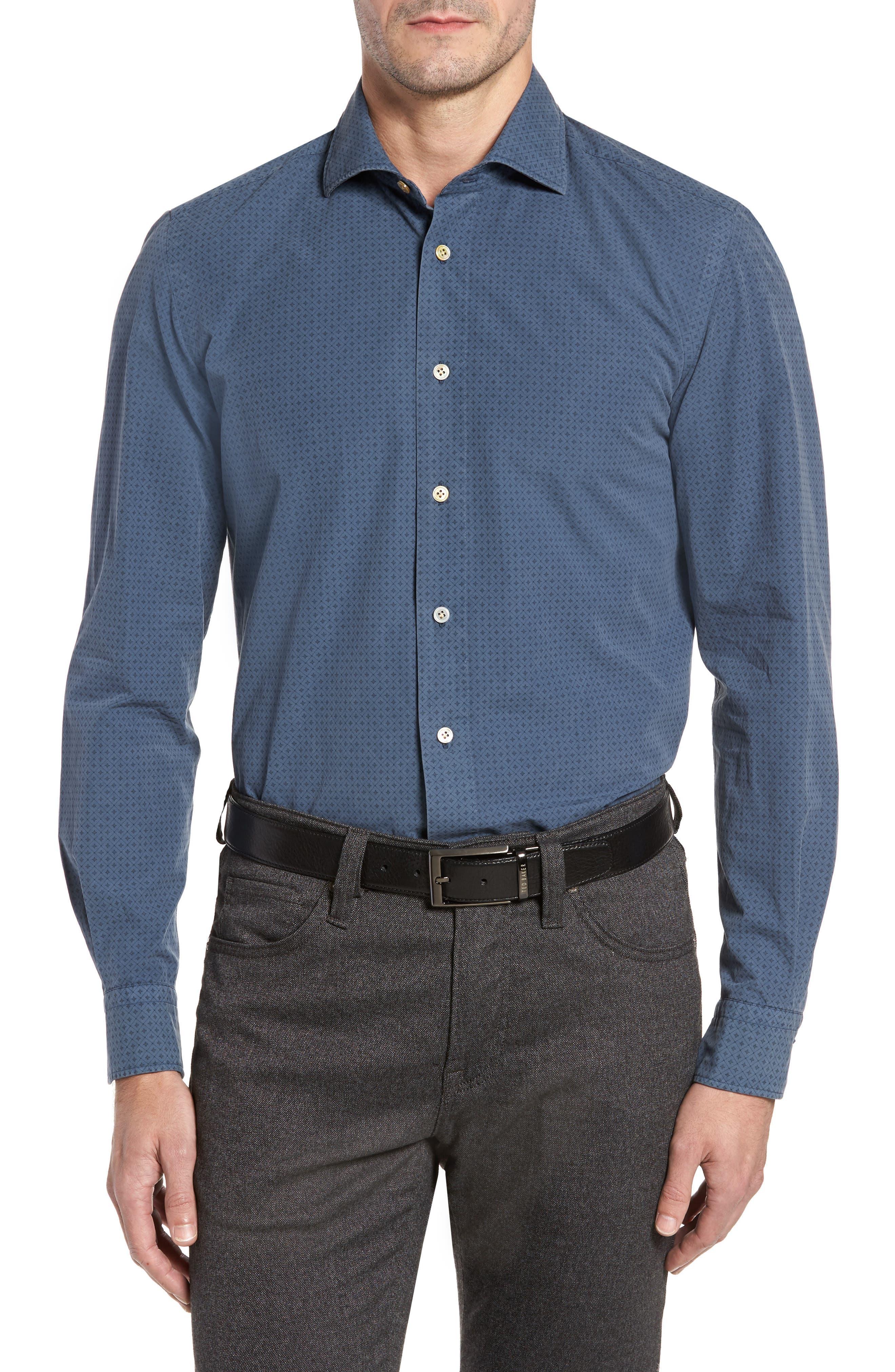 Classic Fit Diamond Print Sport Shirt,                         Main,                         color, Blue