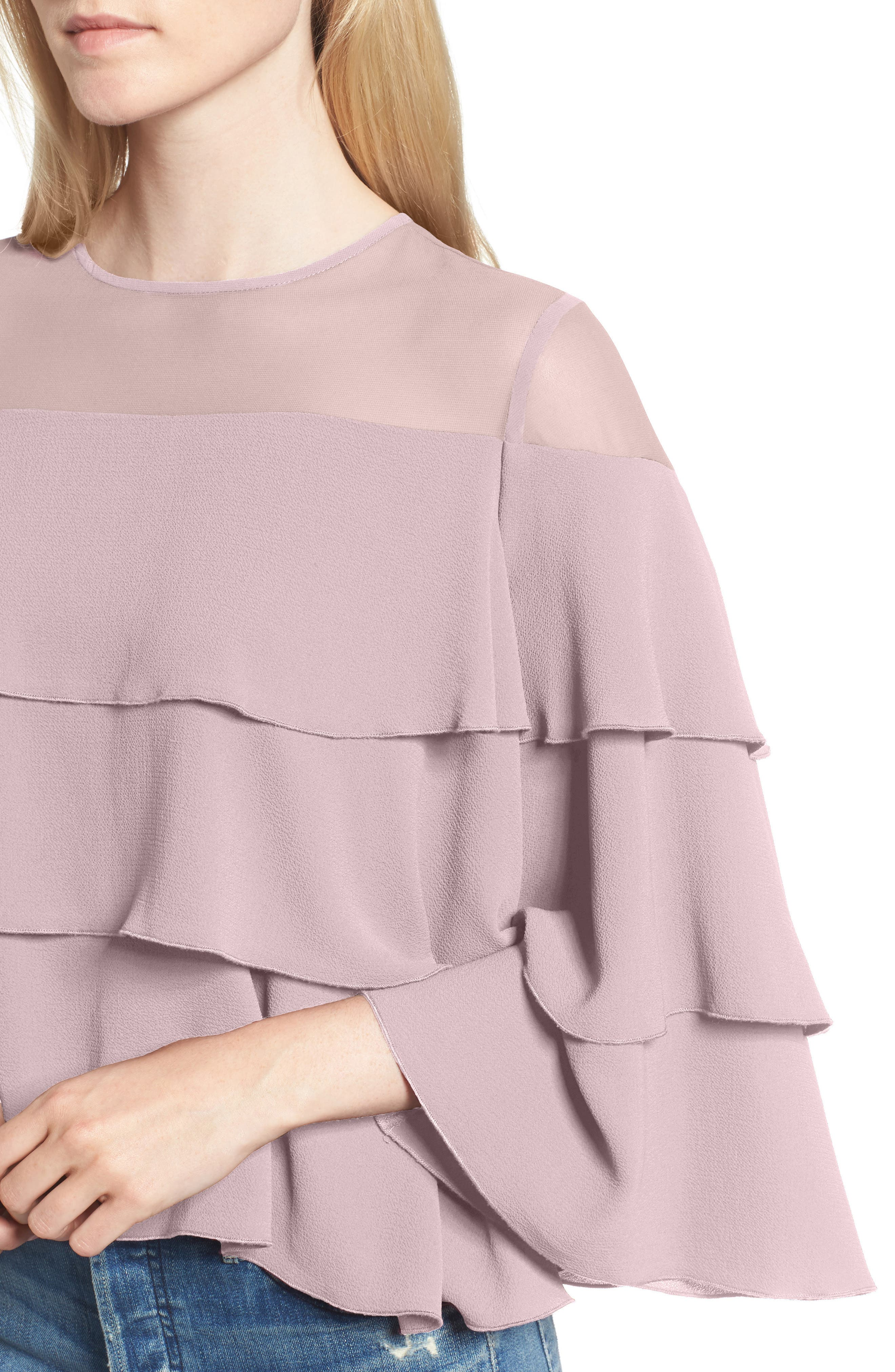 Medena Tiered Ruffle Top,                             Alternate thumbnail 4, color,                             Pale Lavender