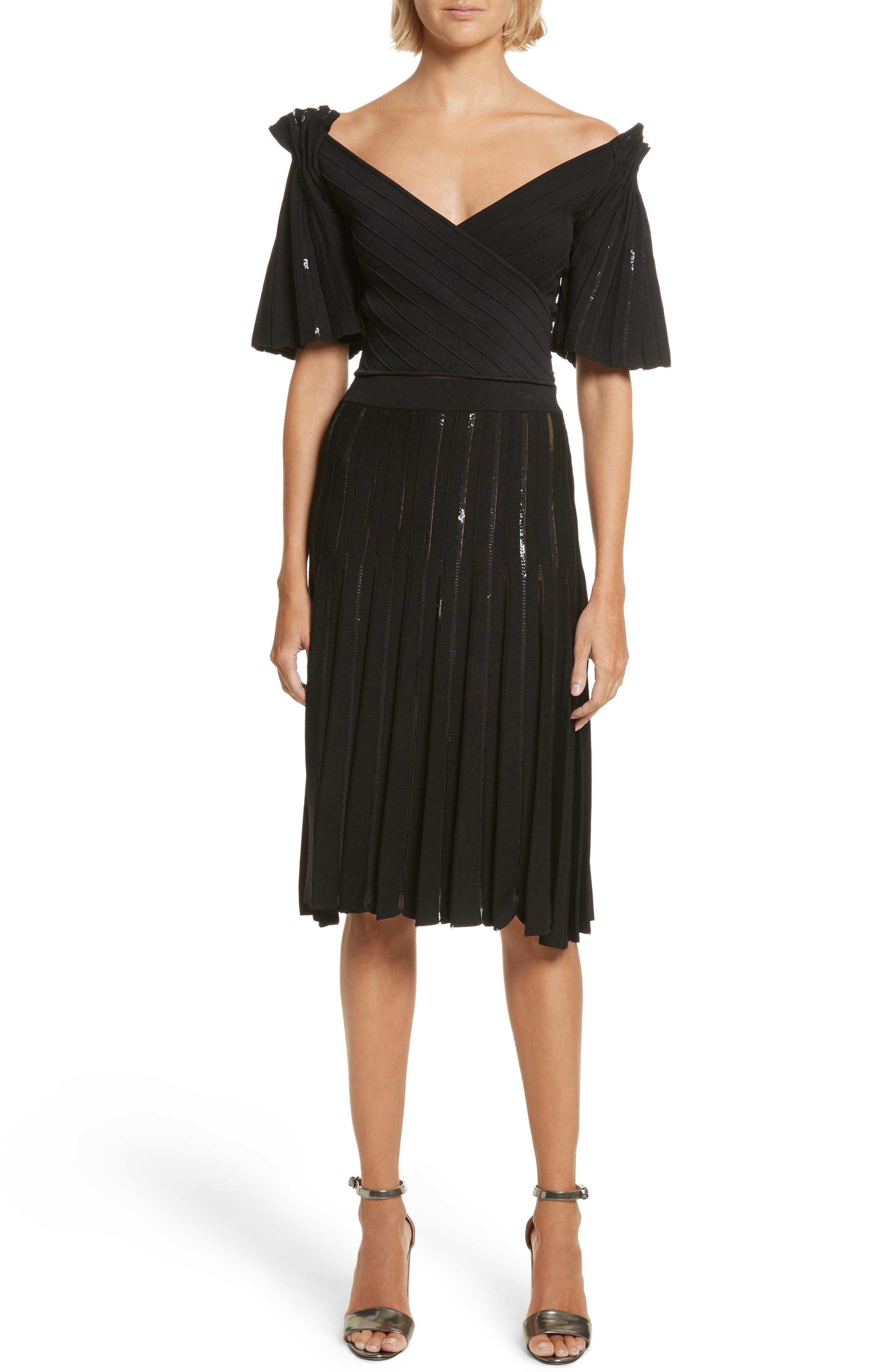 Pleated Sequin Flare Skirt,                             Alternate thumbnail 2, color,                             Black