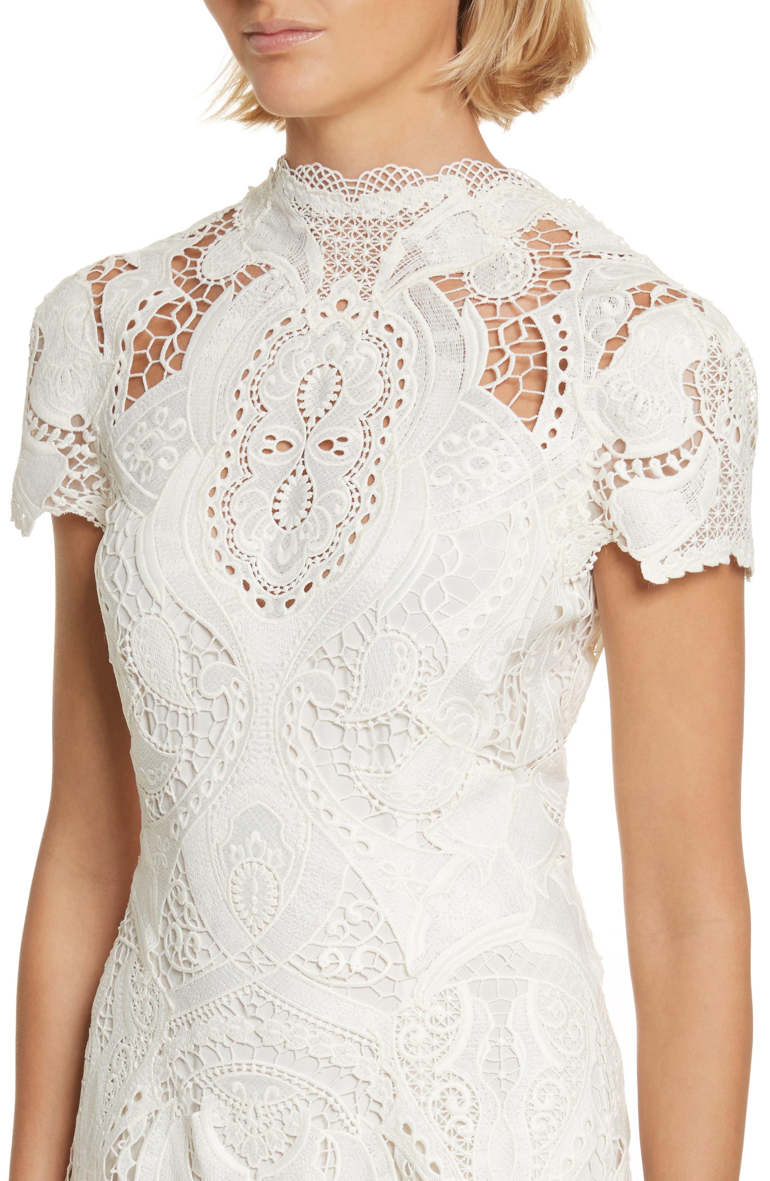 Appliqué Lace Midi Dress,                             Alternate thumbnail 4, color,                             Ivory
