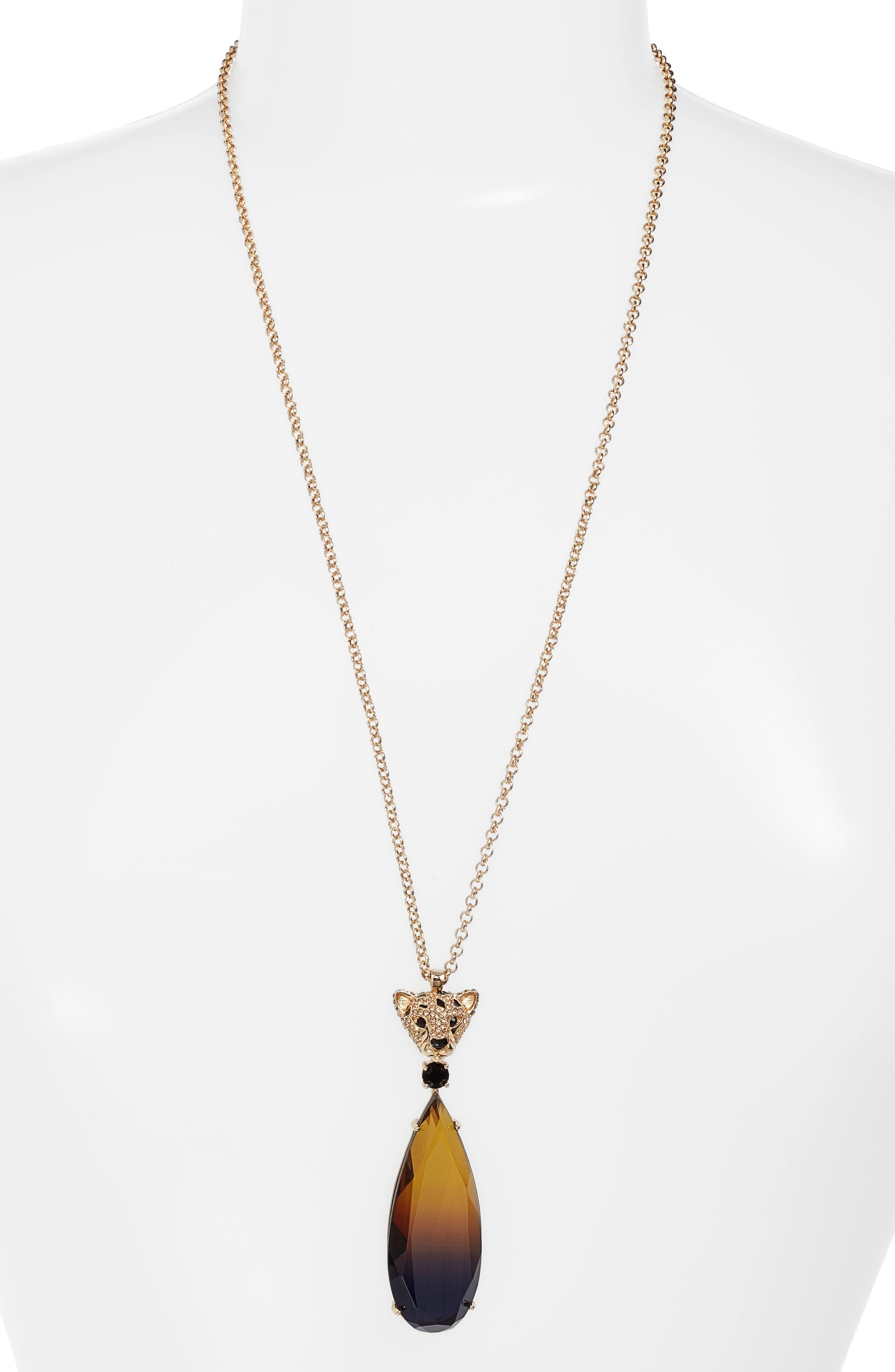 run wild cheetah stone pendant necklace,                         Main,                         color, Multi
