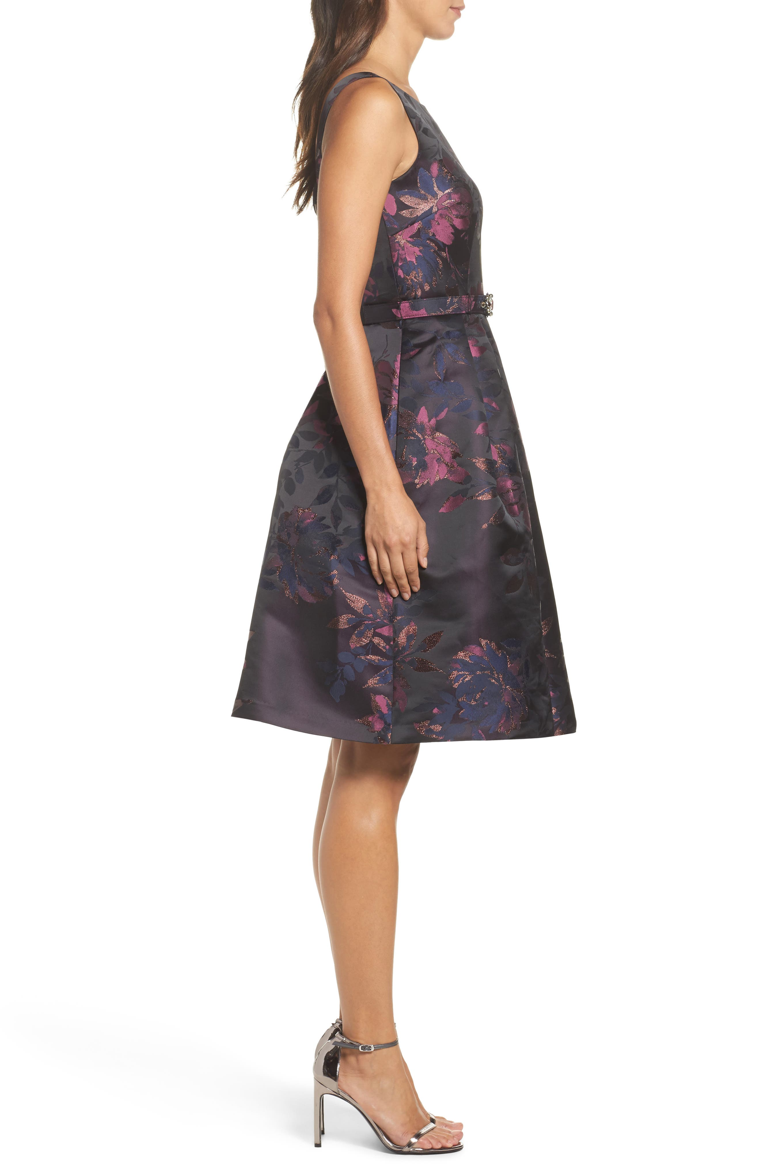 Brocade Fit & Flare Dress,                             Alternate thumbnail 4, color,                             Navy/ Pink