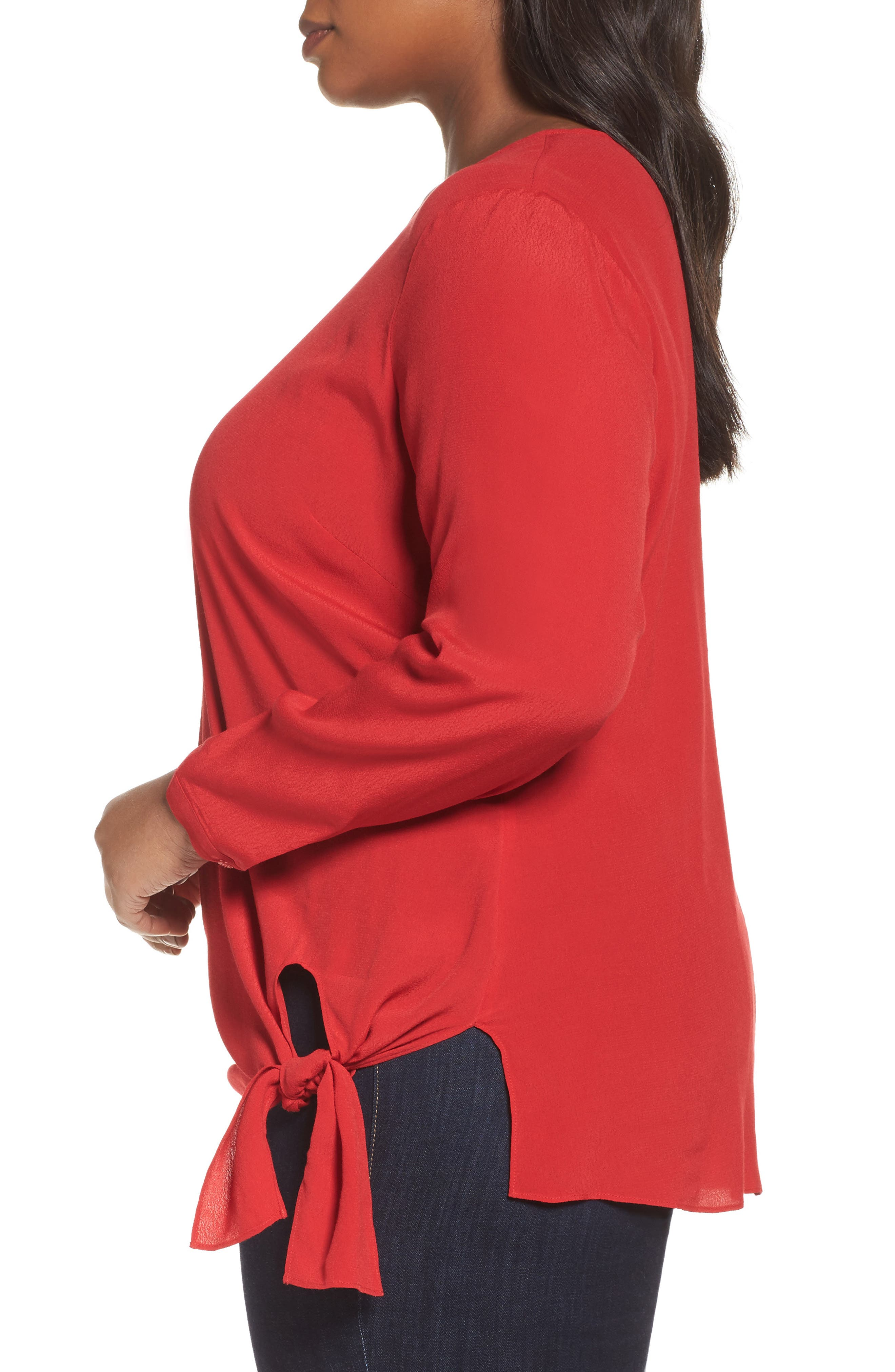Side Tie Blouse,                             Alternate thumbnail 3, color,                             Red Sage