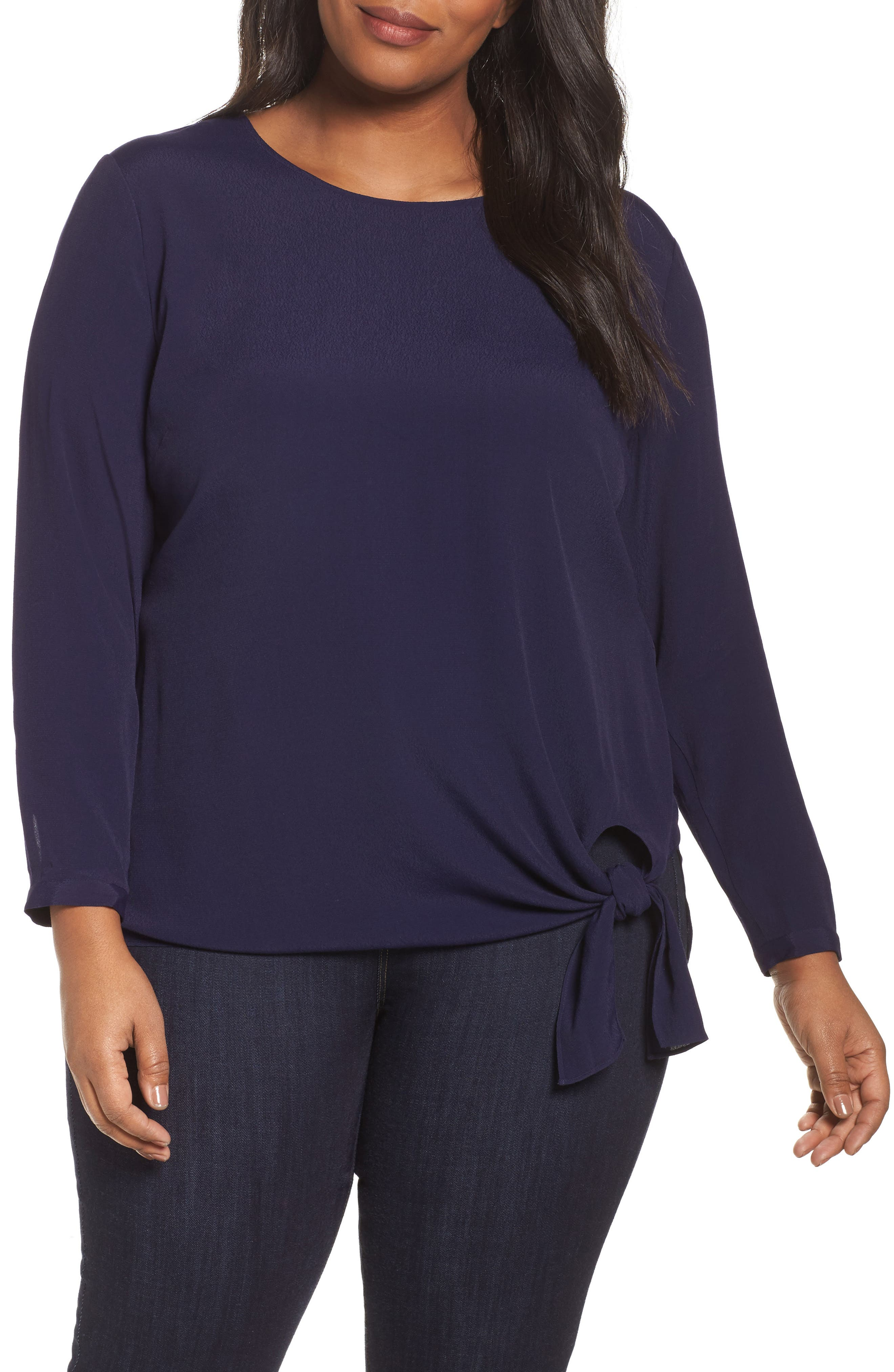 Side Tie Blouse,                         Main,                         color, Navy Evening