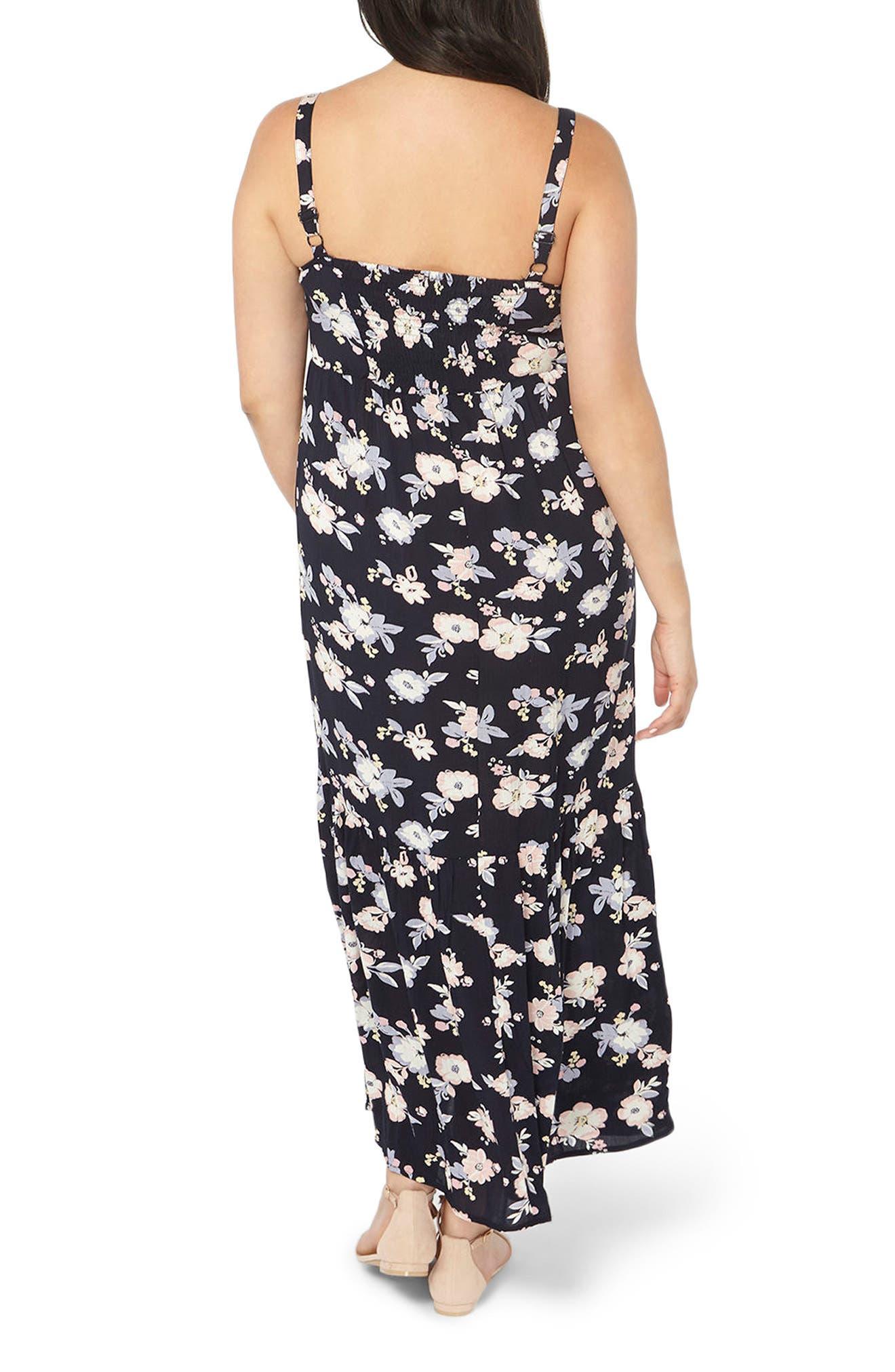 Alternate Image 2  - Evans Floral Ruffle Hem Maxi Sundress (Plus Size)