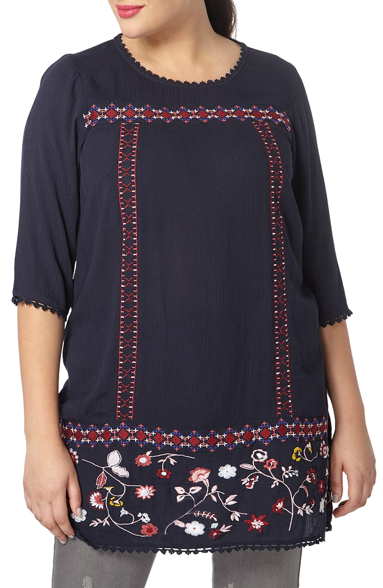 Embroidered Tunic,                         Main,                         color, Navy