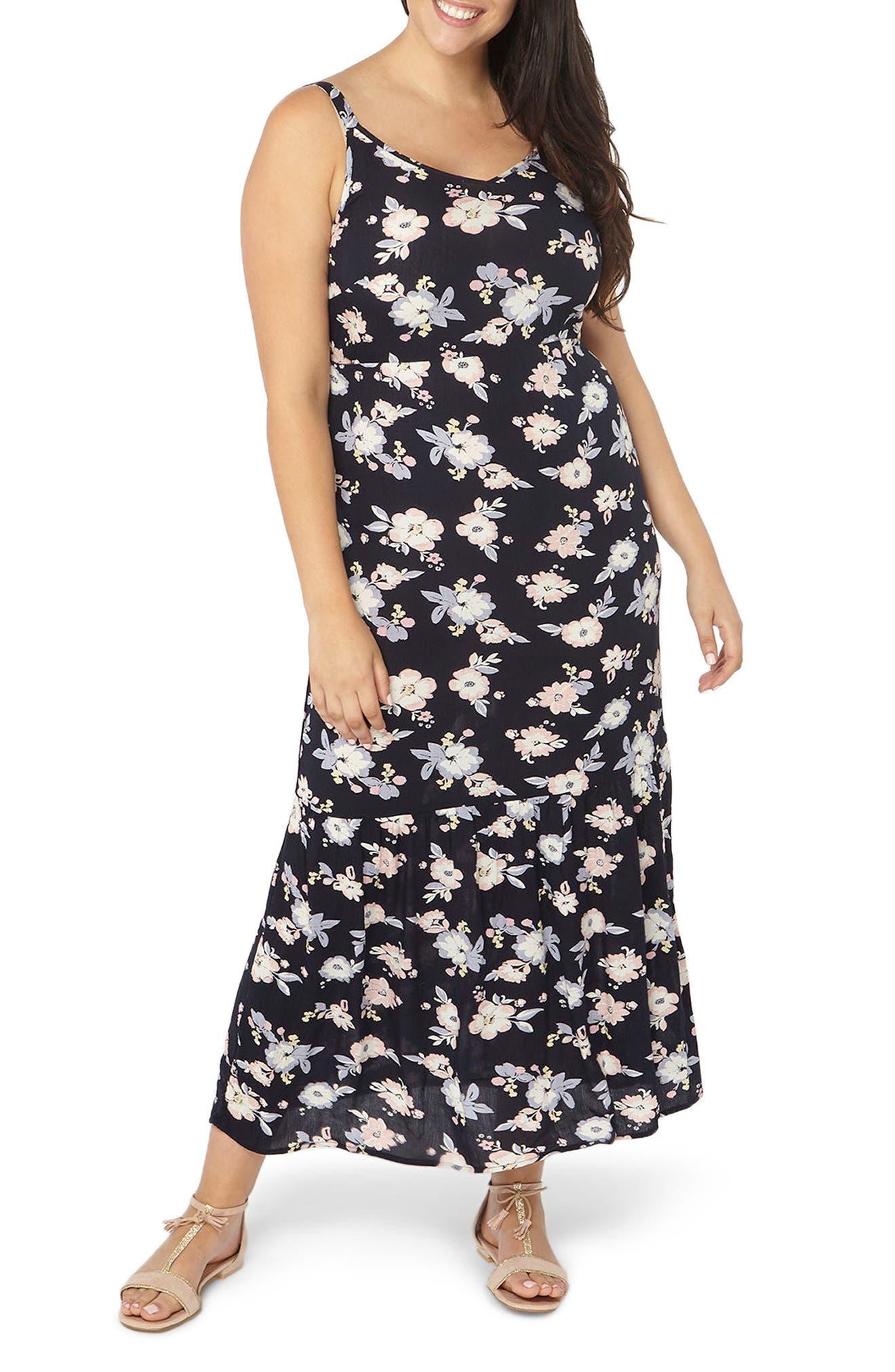 Floral Ruffle Hem Maxi Sundress,                         Main,                         color, Navy