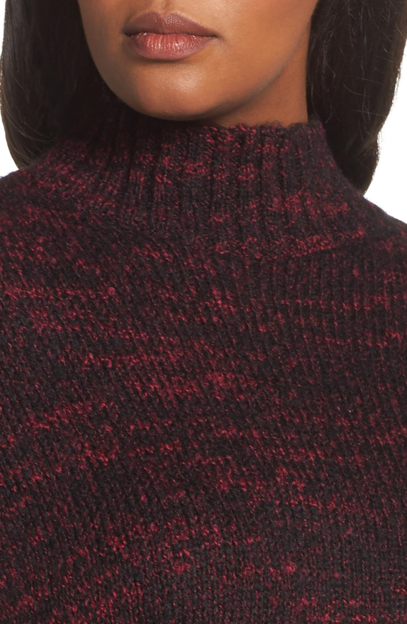 Mock Neck Knit Sweater,                             Alternate thumbnail 4, color,                             Pink Combo