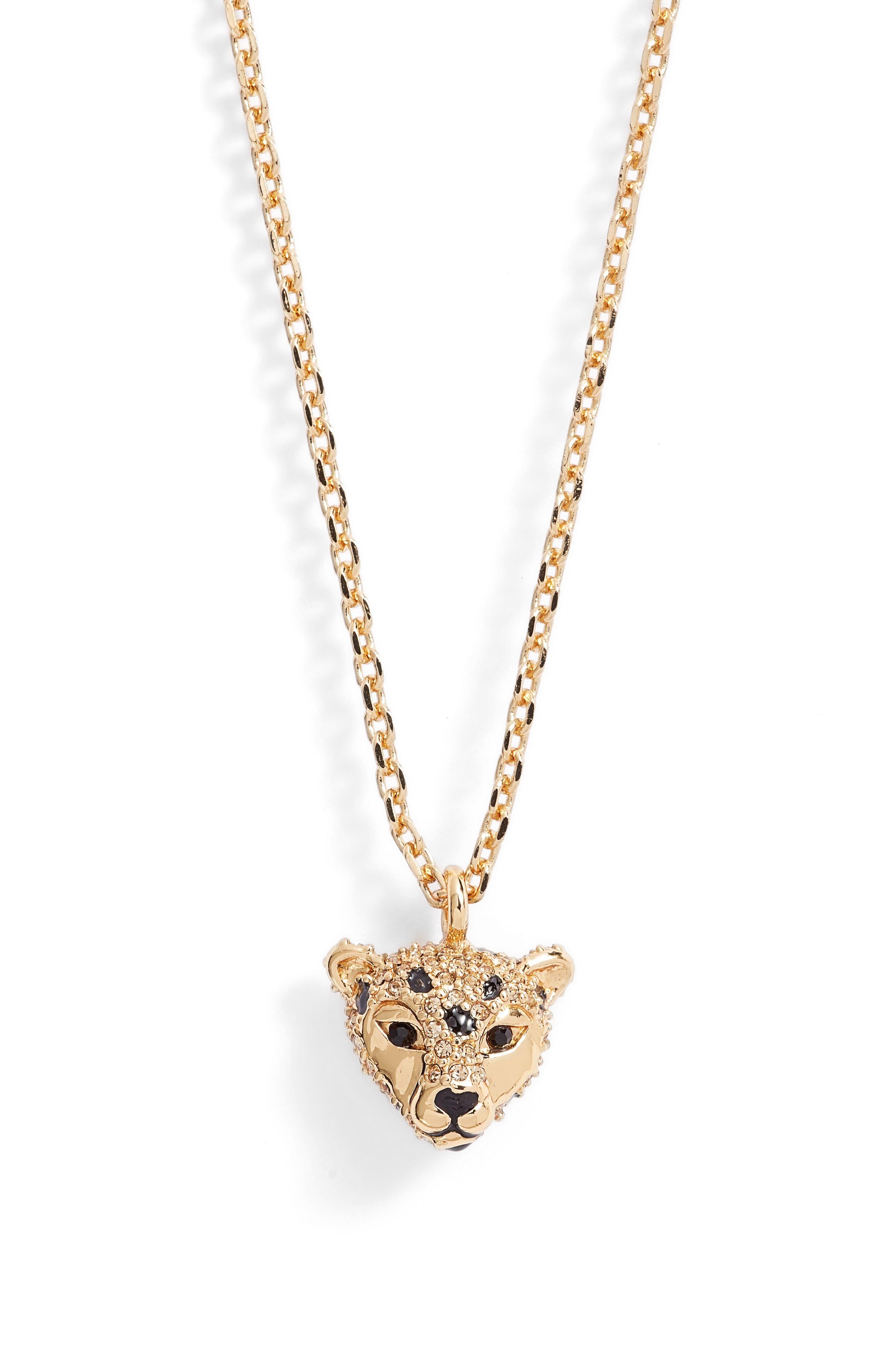 run wild cheetah pendant necklace,                             Main thumbnail 1, color,                             Multi
