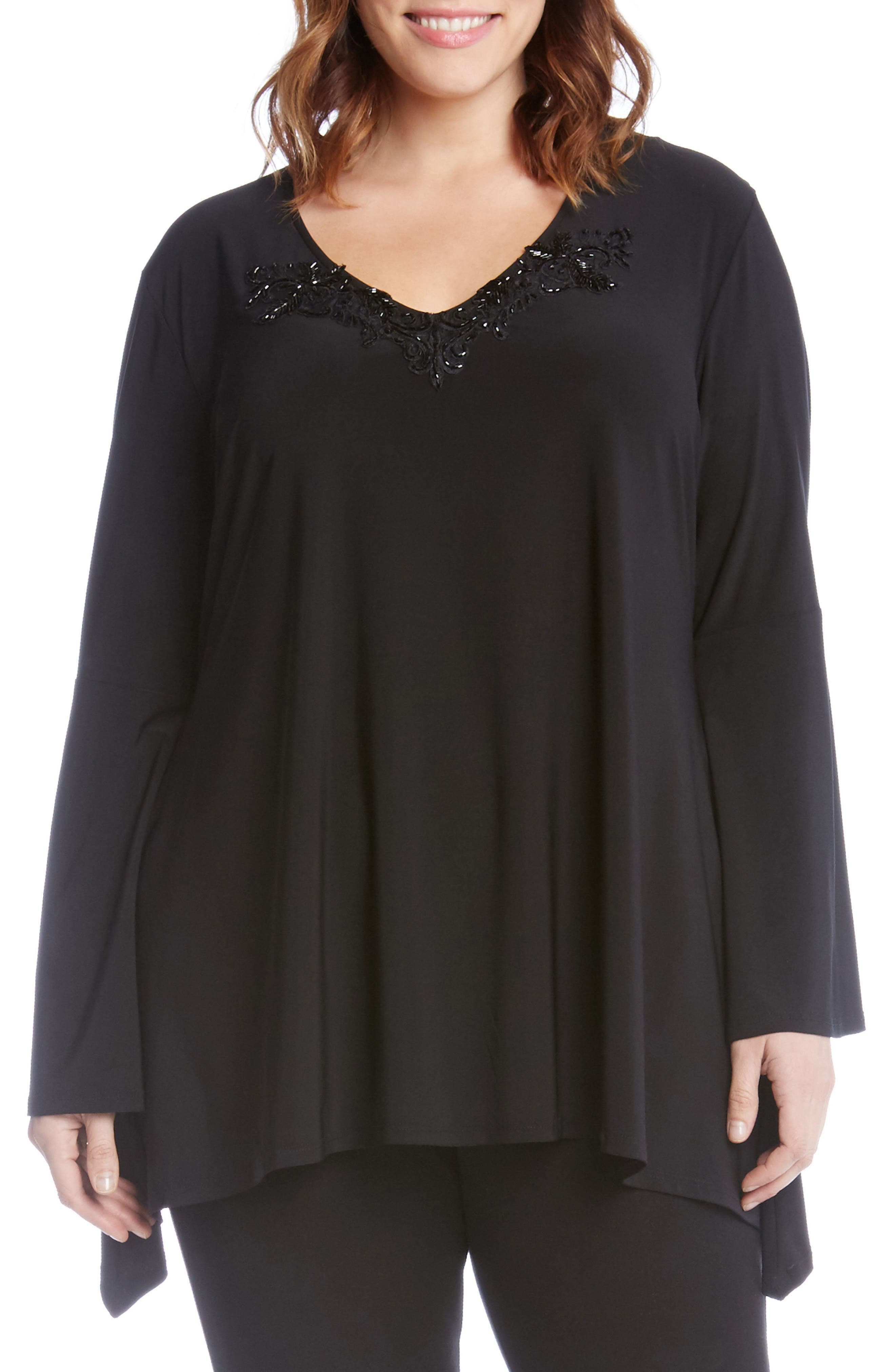 Beaded Neck Bell Sleeve Top,                         Main,                         color, Black