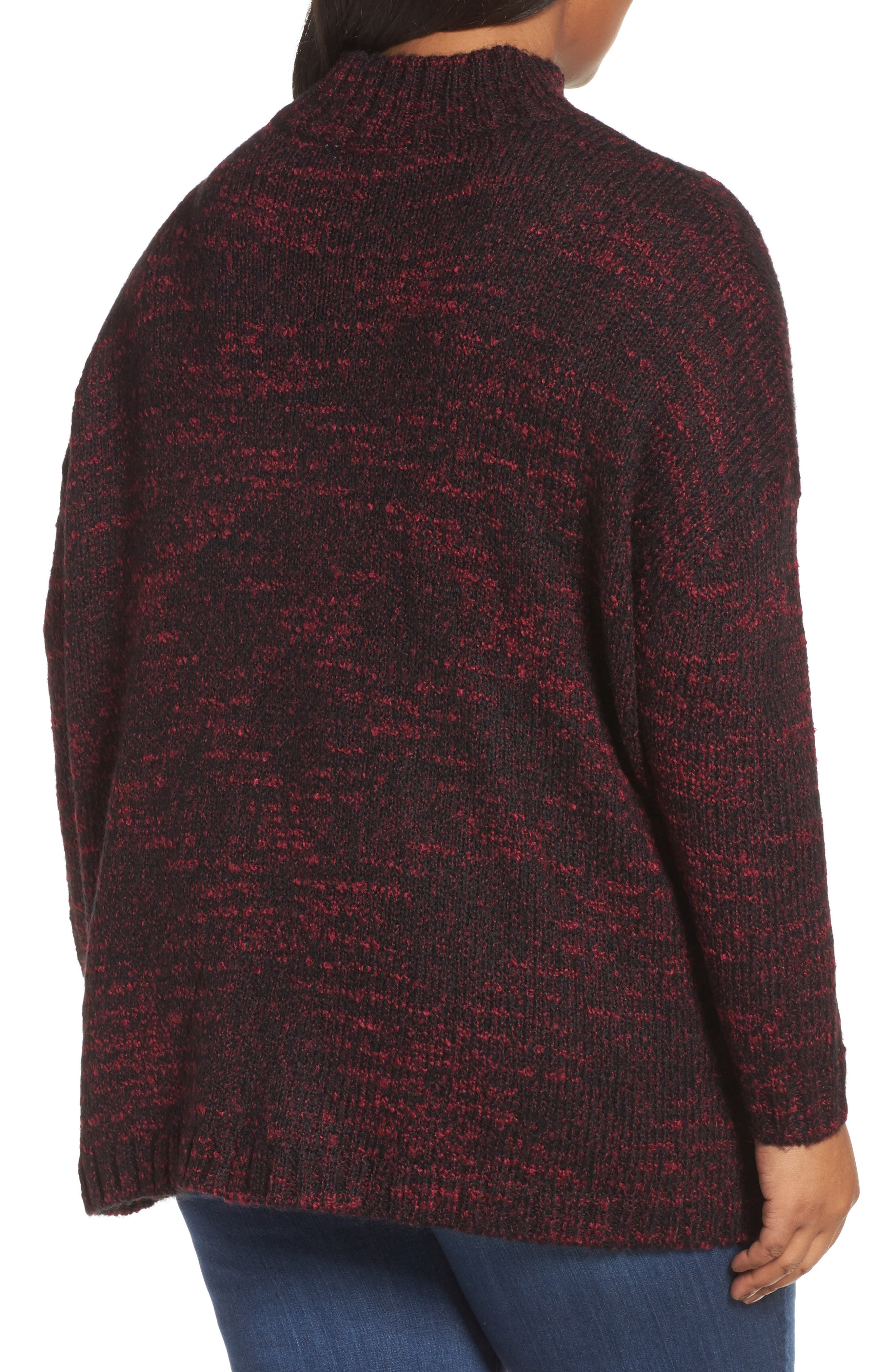 Mock Neck Knit Sweater,                             Alternate thumbnail 2, color,                             Pink Combo