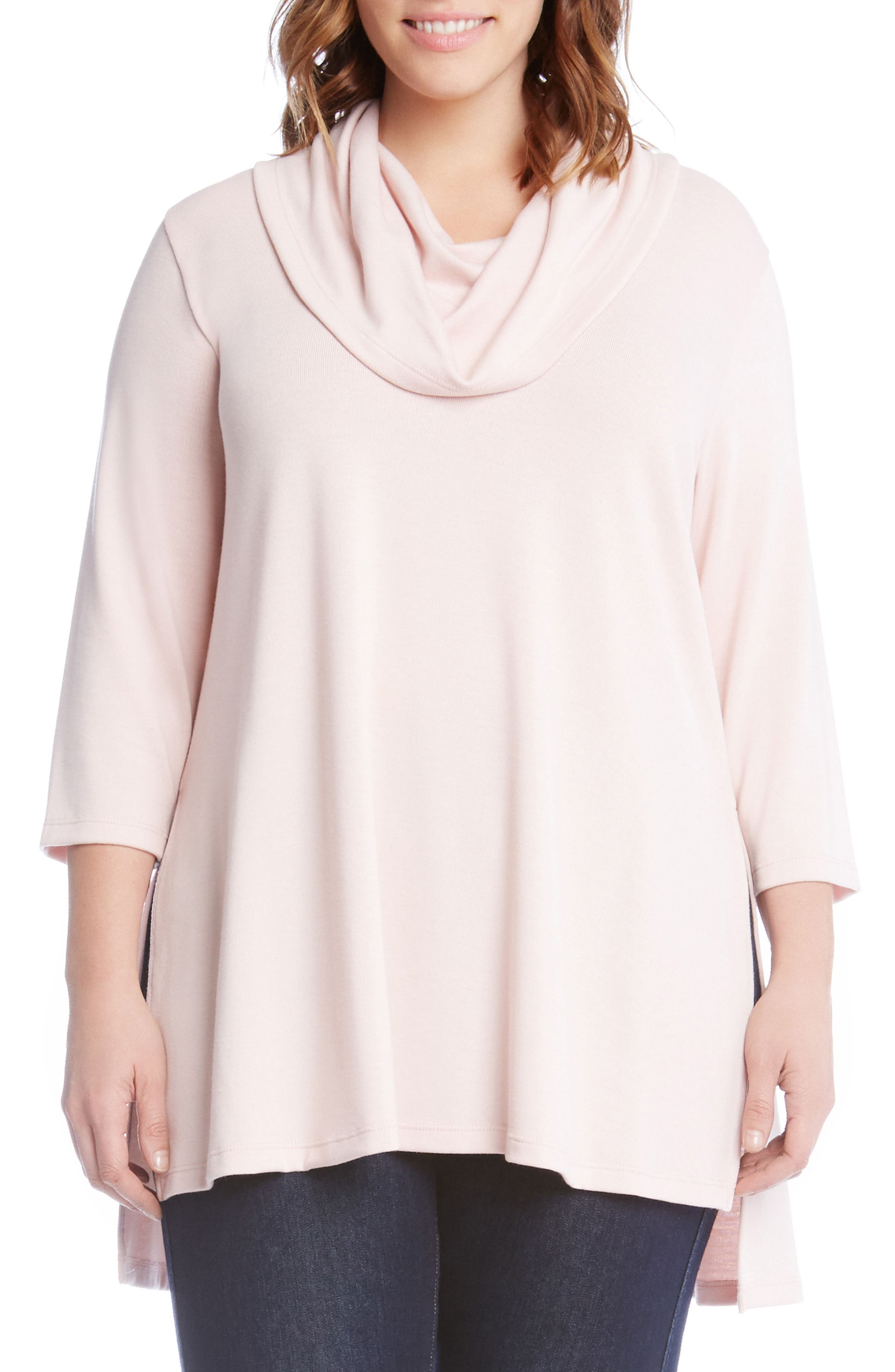 Cowl Neck High/Low Sweater,                             Main thumbnail 1, color,                             Pink