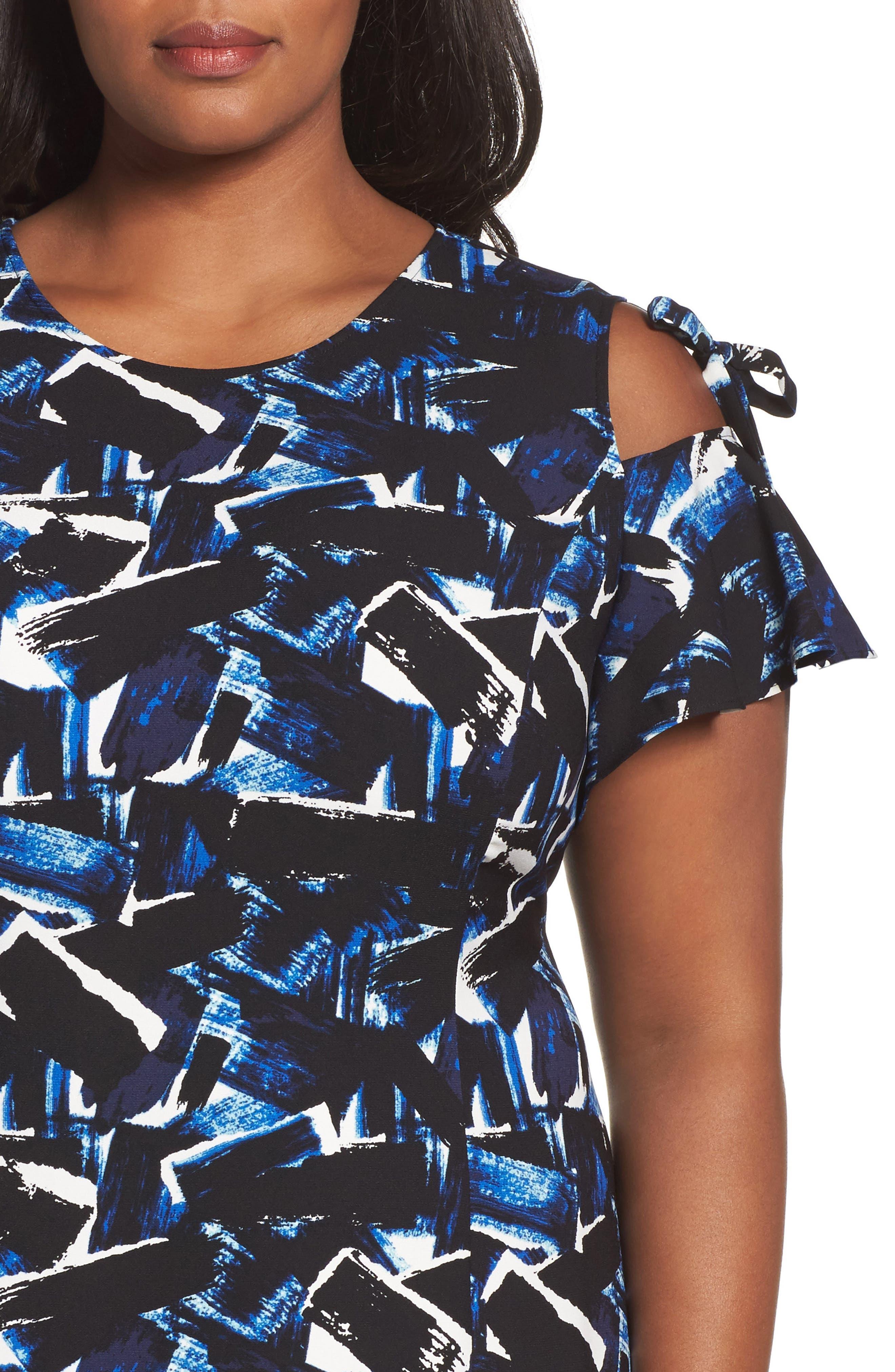 Alternate Image 4  - Sejour Cold Shoulder A-Line Dress (Plus Size)