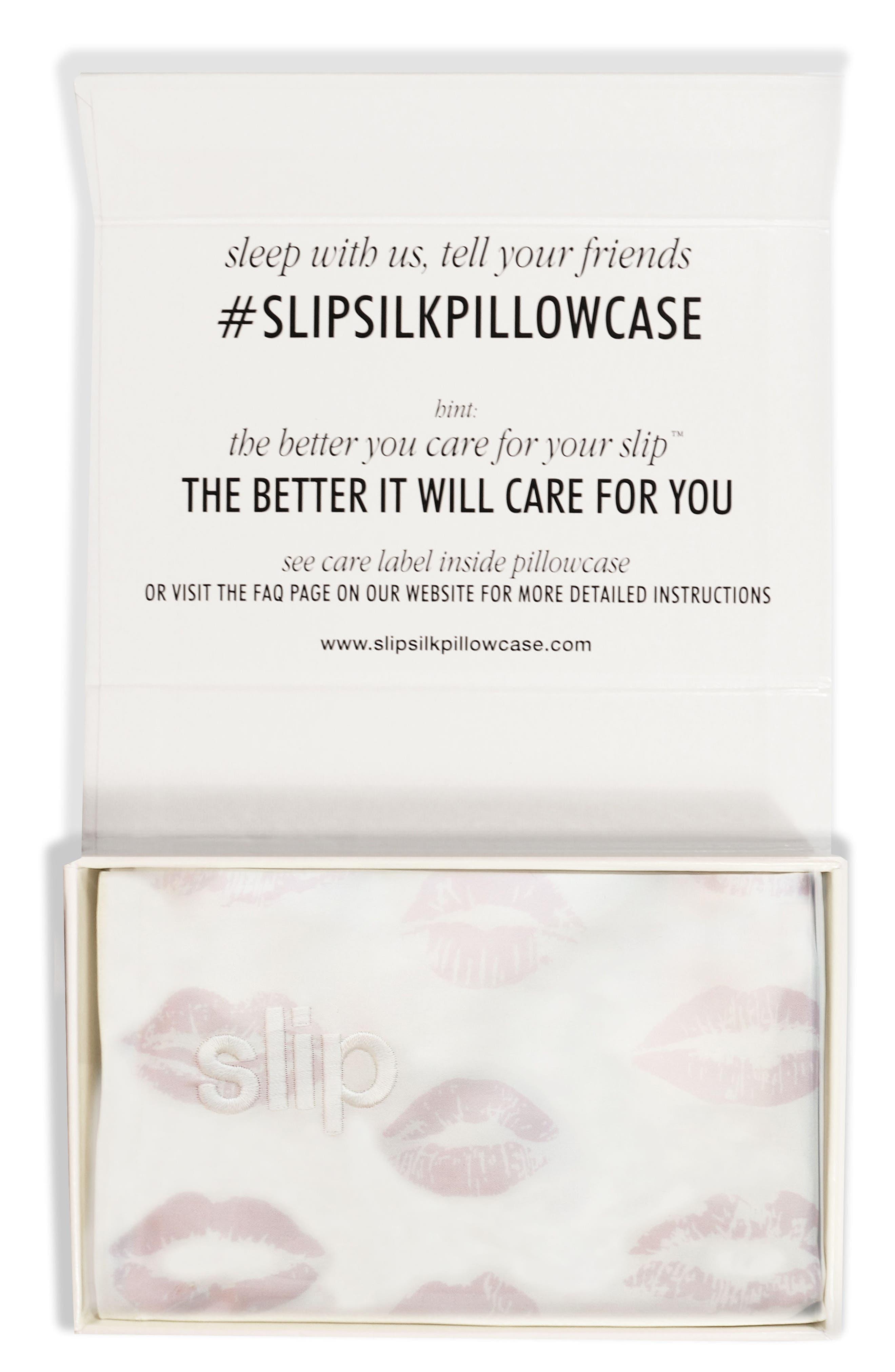 Main Image - slip™ for beauty sleep Slipsilk™ Pink Kisses Pure Silk Pillowcase (Nordstrom Exclusive)