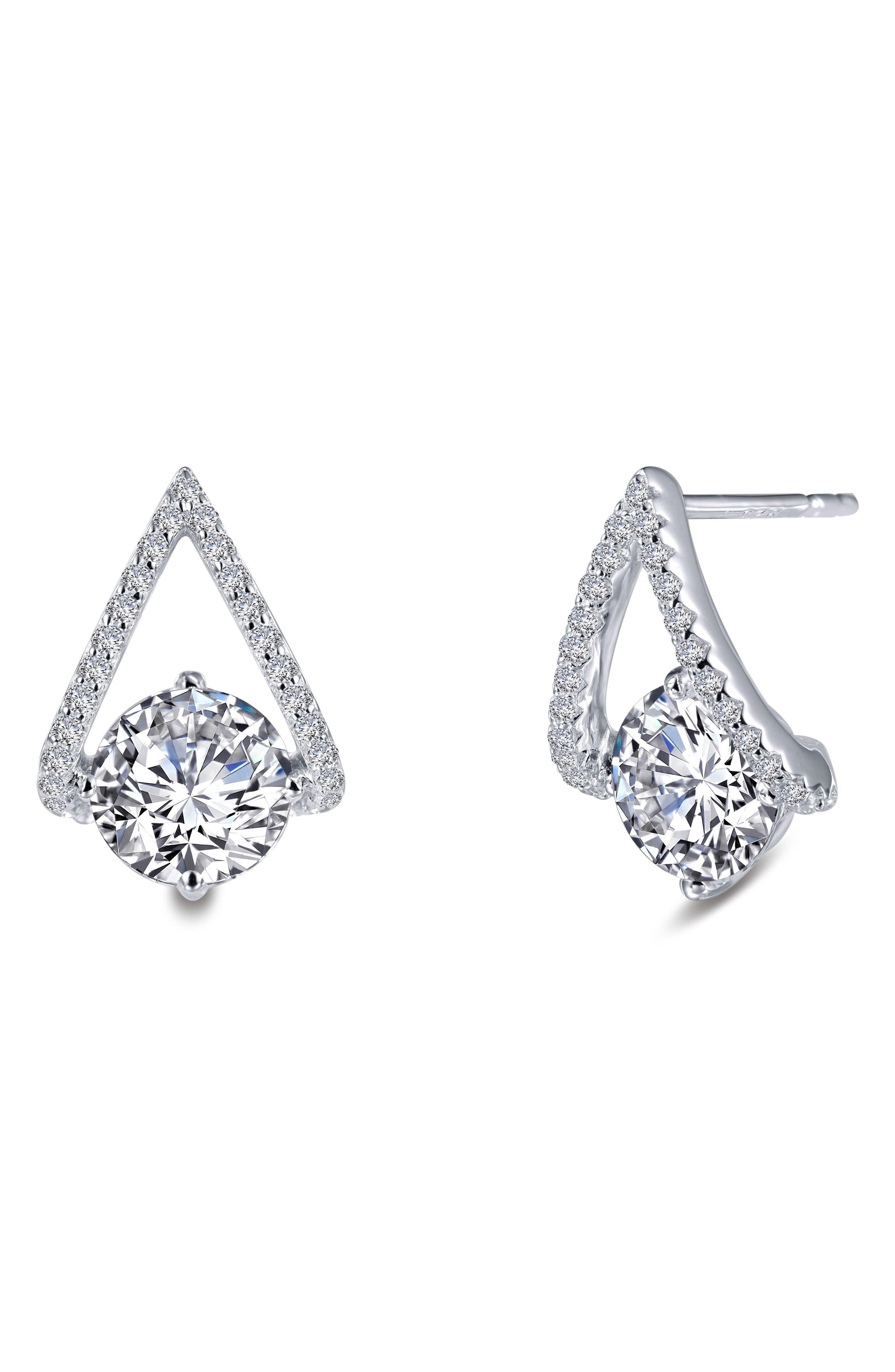 Simulated Diamond Drop Earrings,                             Alternate thumbnail 2, color,                             Silver/ Clear