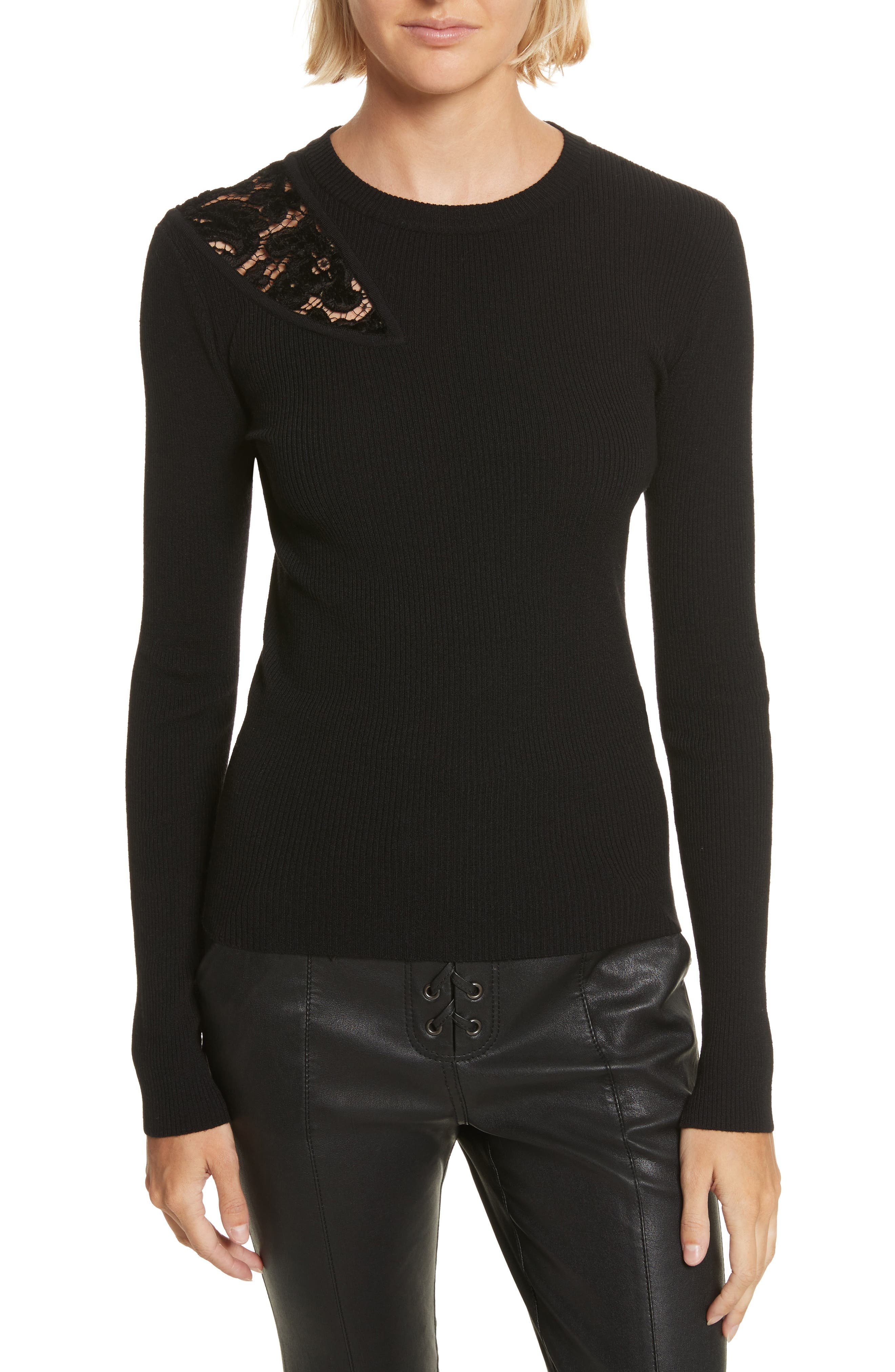 Terence Lace Inset Sweater,                             Main thumbnail 1, color,                             Black