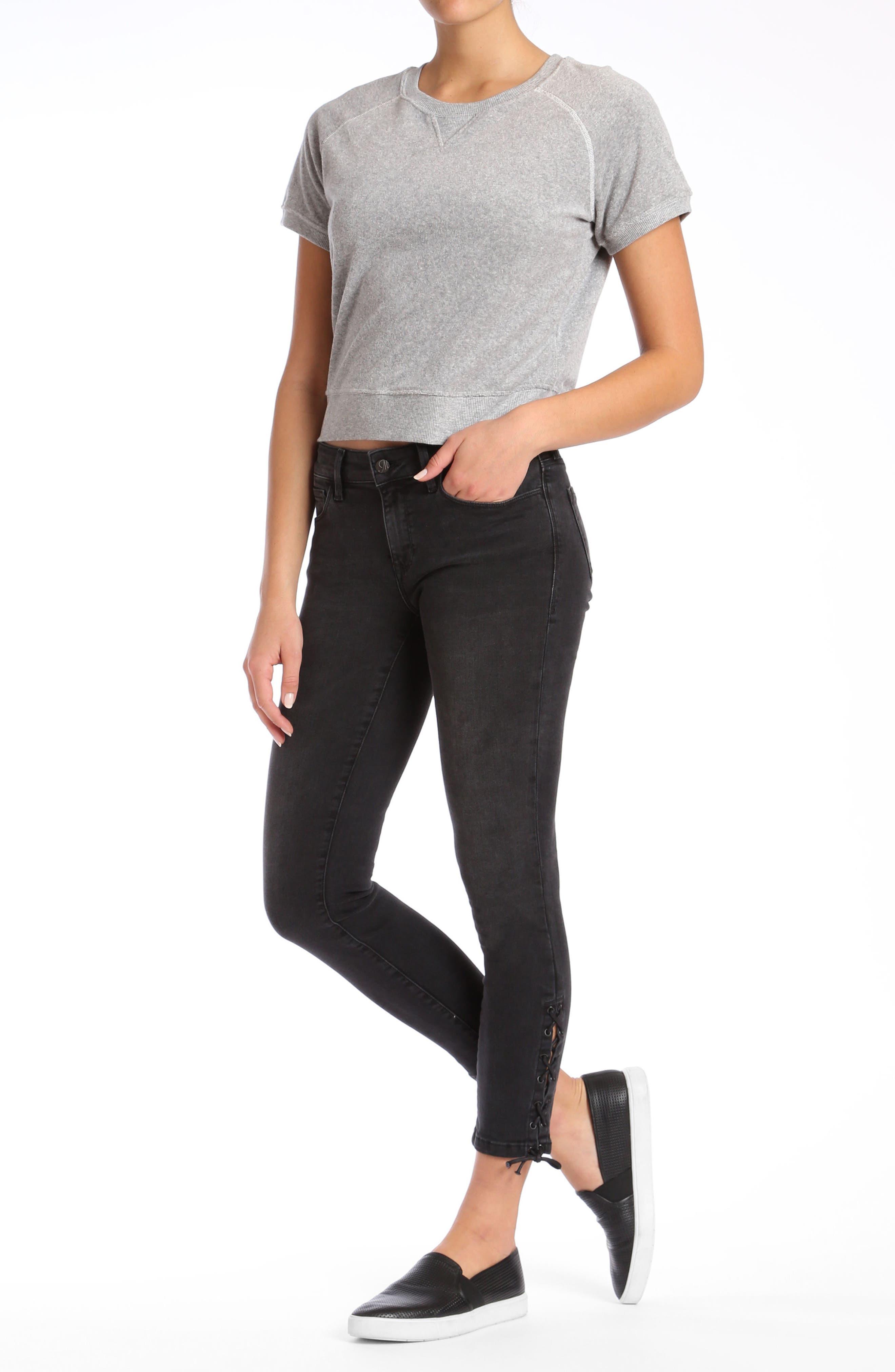 Alternate Image 2  - Mavi Adriana Lace Up Ankle Super Skinny Jeans (Smoke Lace)