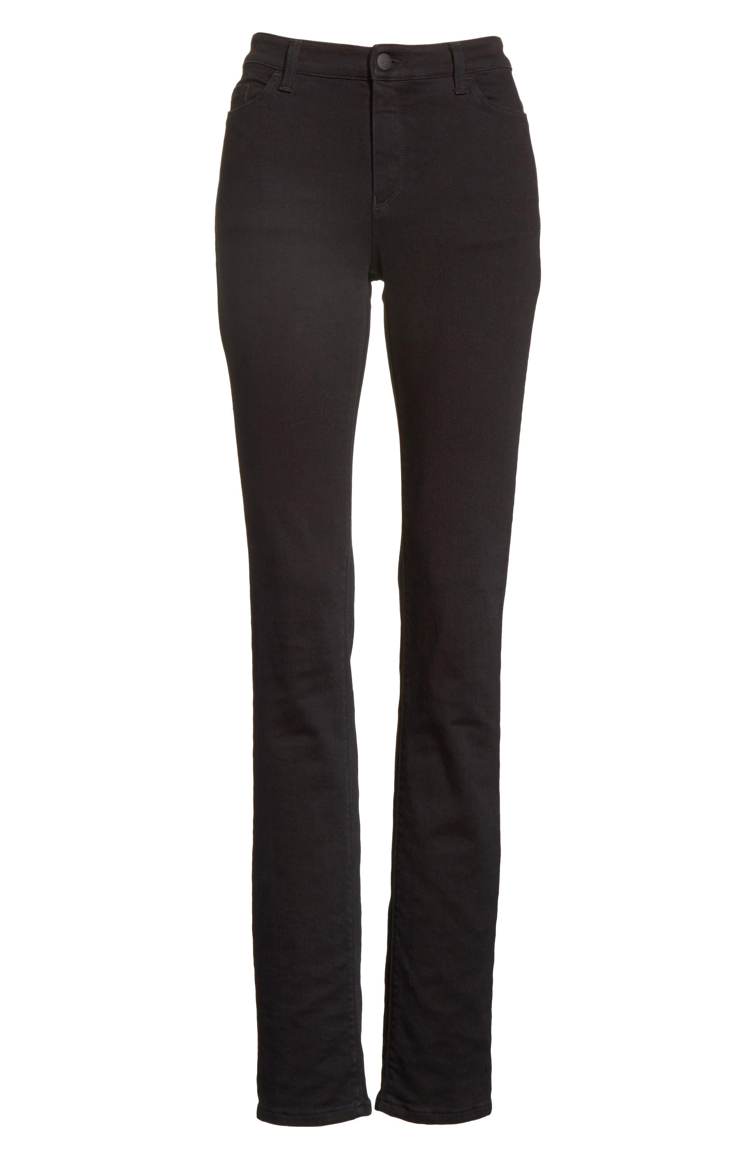Straight Leg Jeans,                             Alternate thumbnail 6, color,                             Black