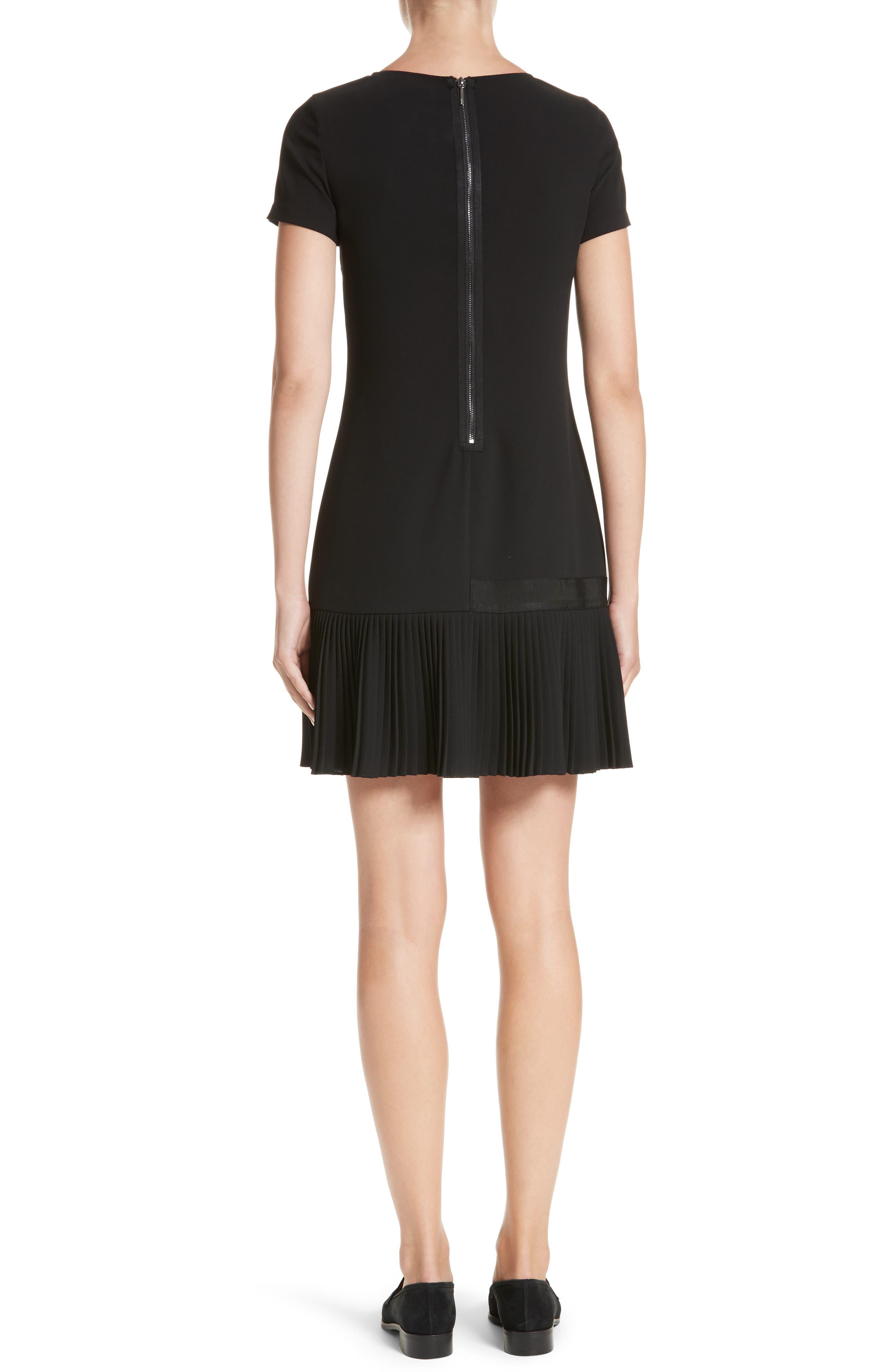 Crepe Pleated Hem Dress,                             Alternate thumbnail 2, color,                             Black