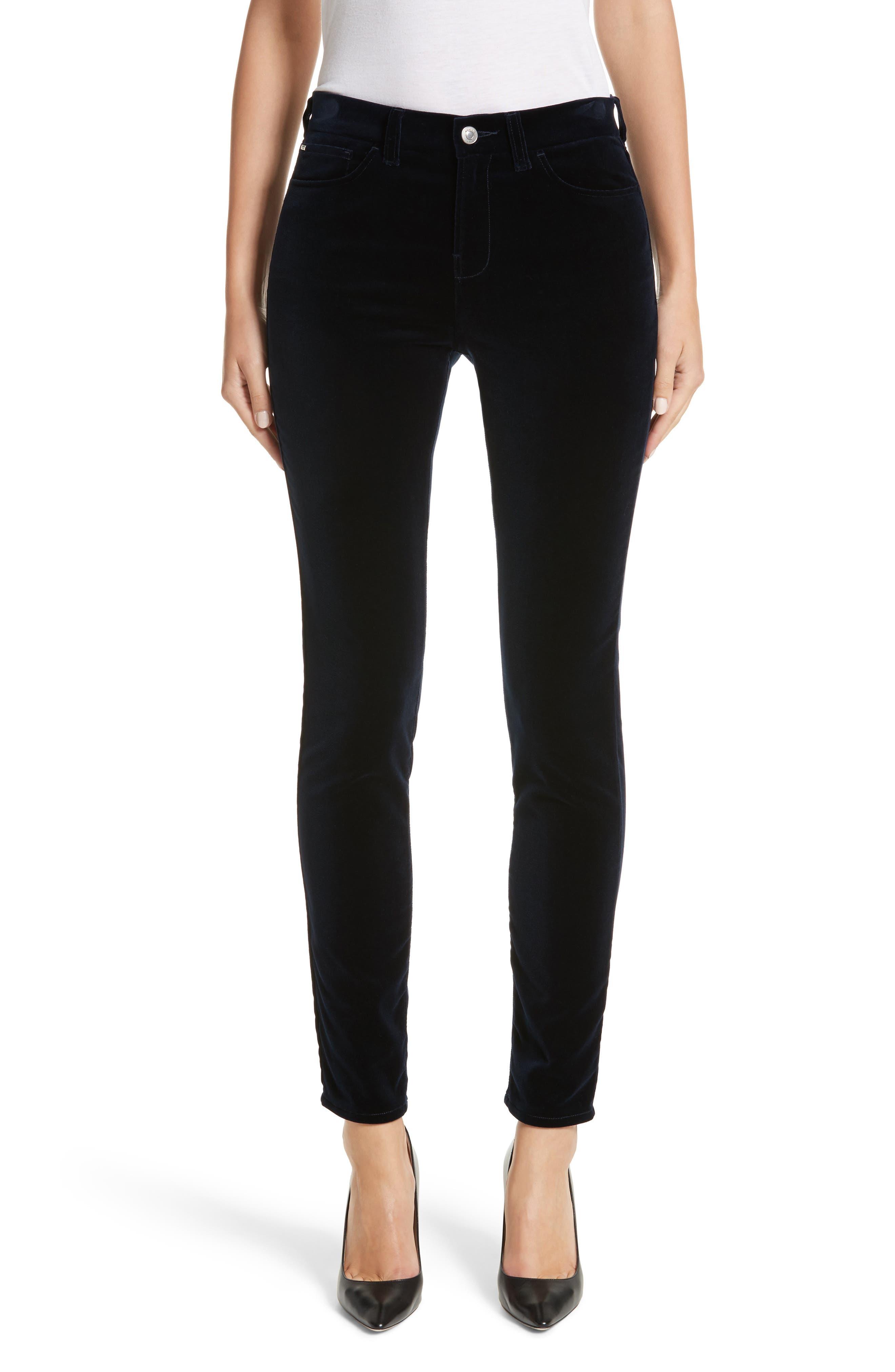 Alternate Image 1 Selected - Armani Collezioni Velvet Straight Leg Pants
