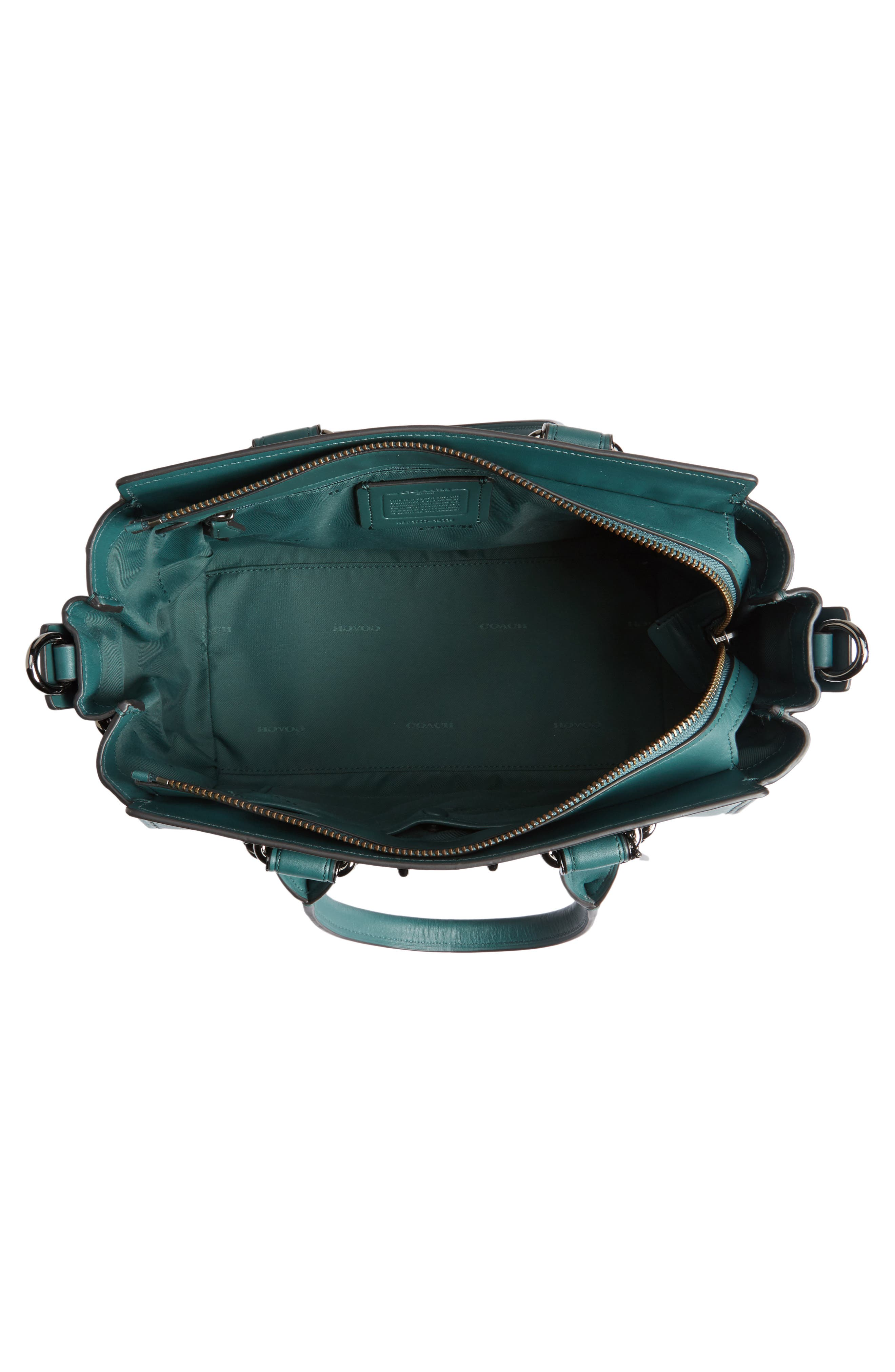 ID Bracelet Swagger 27 Calfskin Leather Satchel,                             Alternate thumbnail 3, color,                             Dark Turquoise